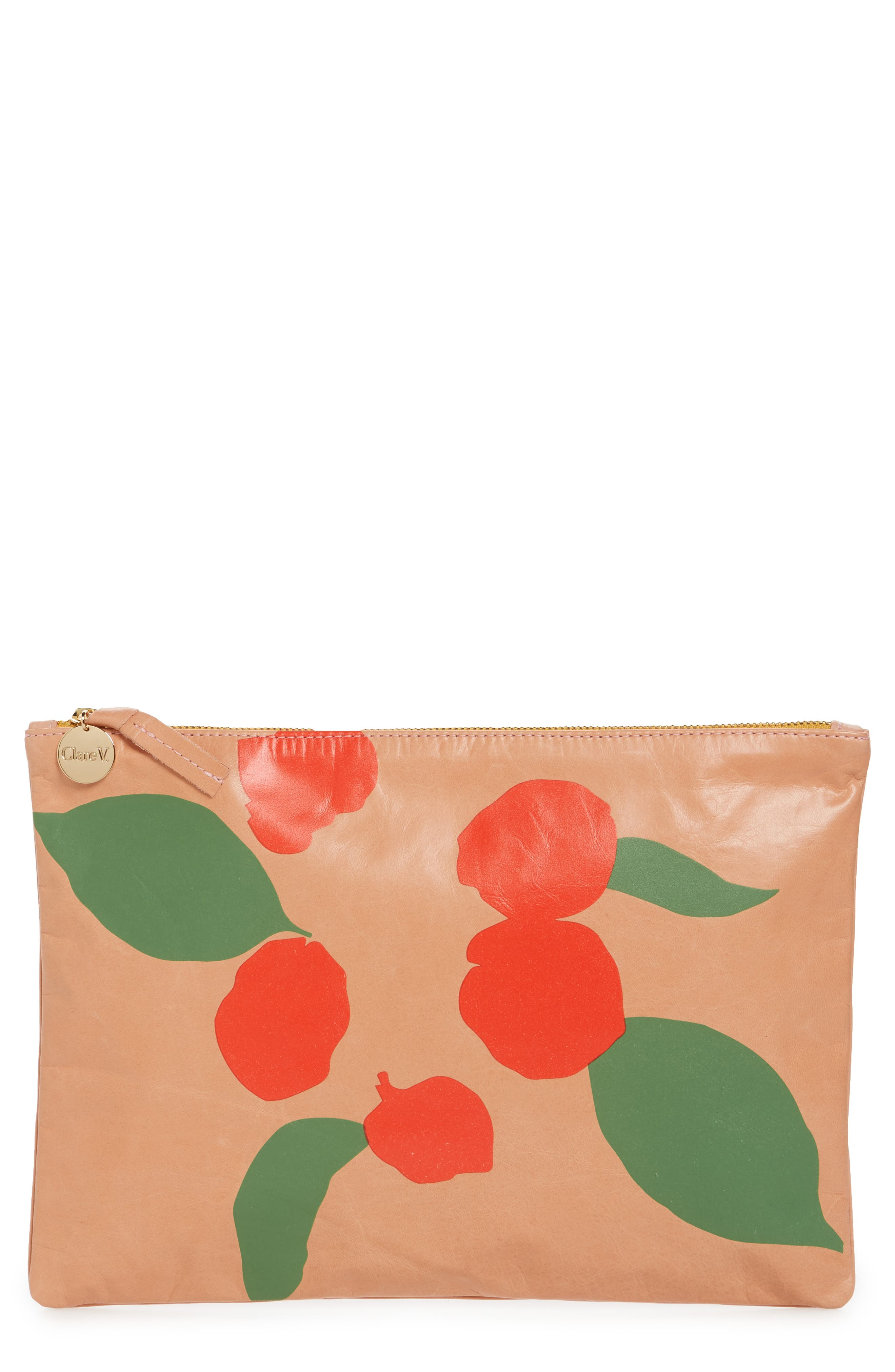 Bougainvillea Leather Clutch,                             Main thumbnail 1, color,                             Salmon New Look