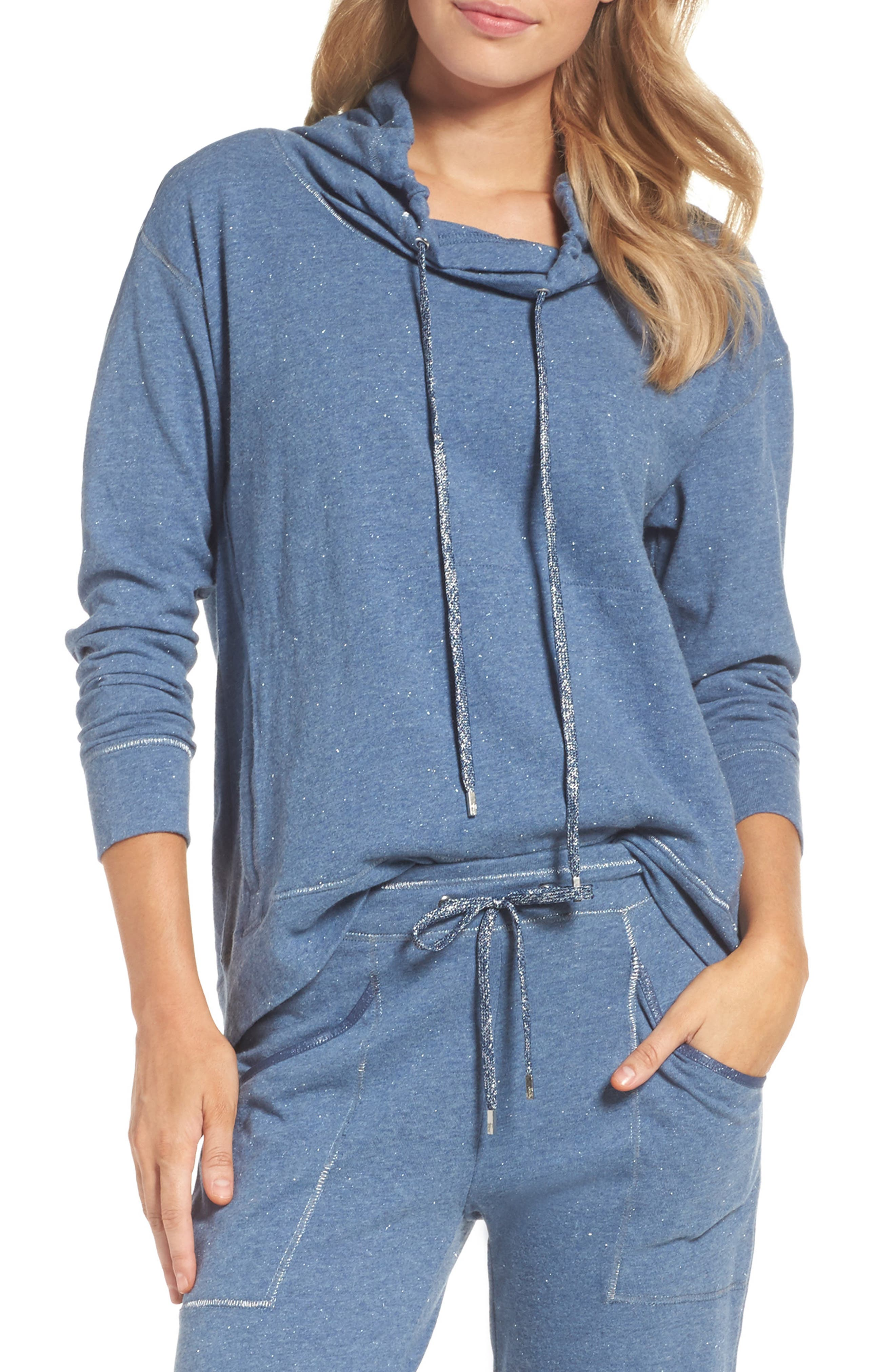 Lucy Cowl Neck Pullover,                         Main,                         color, Heather Blue