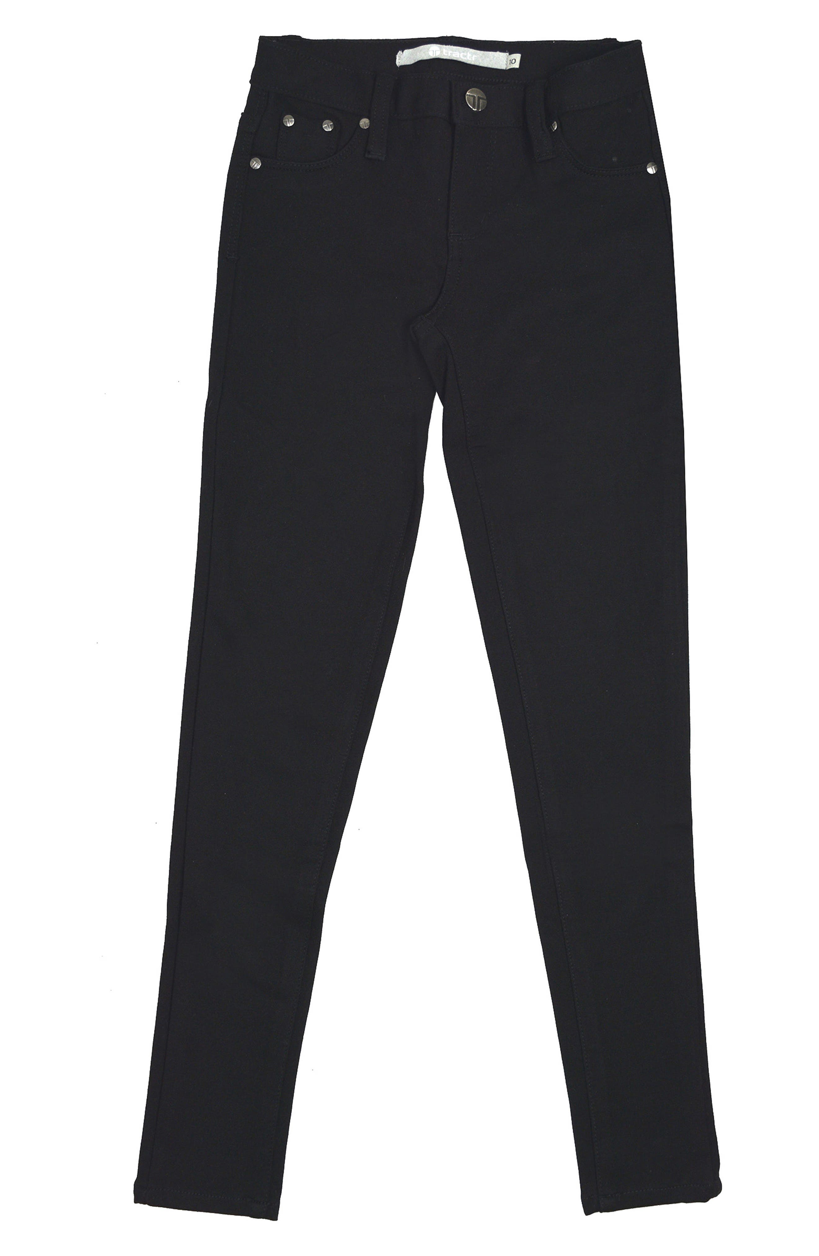 Alternate Image 1 Selected - Tractr Ponte Skinny Jeans (Little Girls)