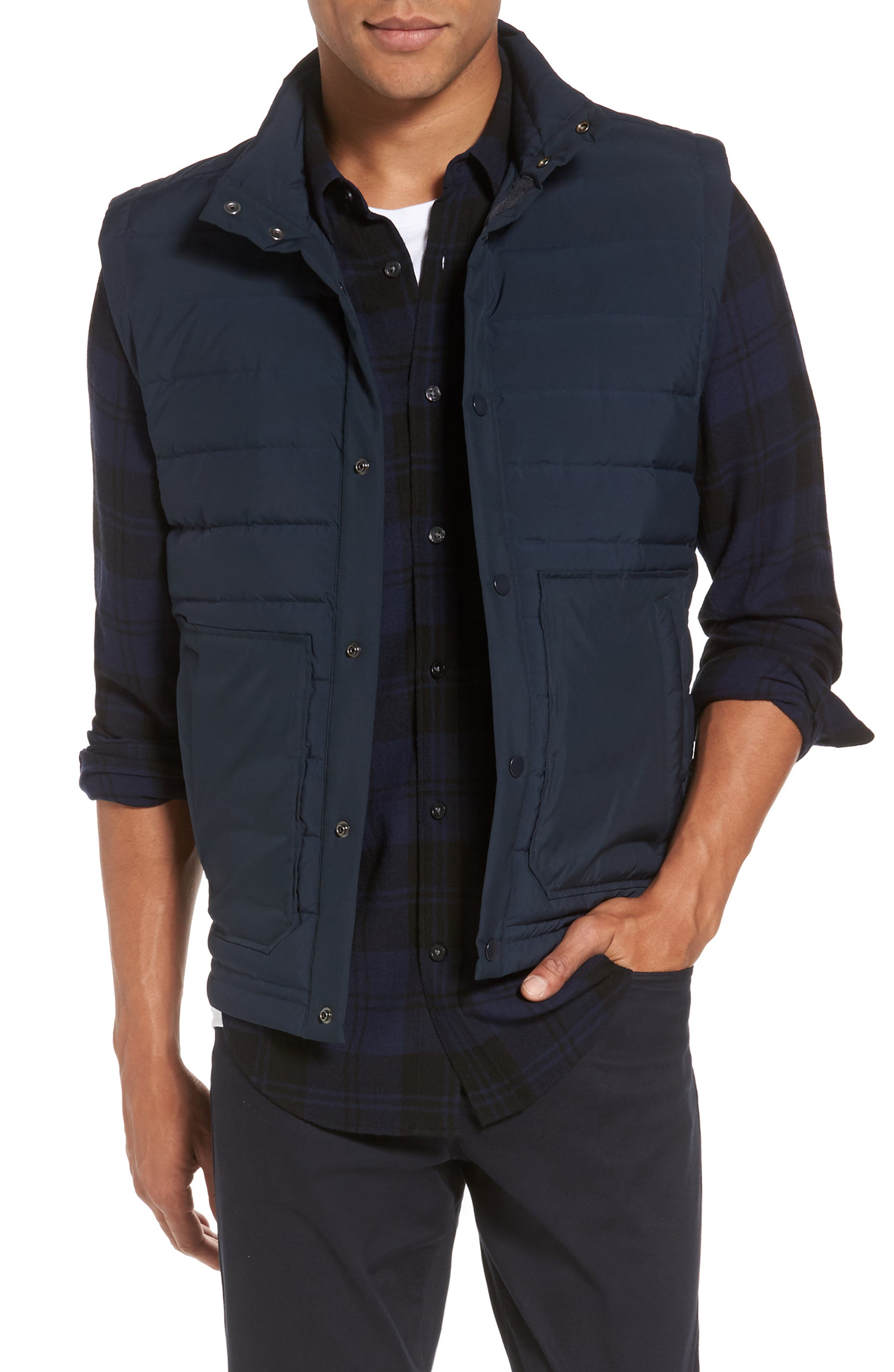 Quilted Down Vest,                         Main,                         color, Coastal