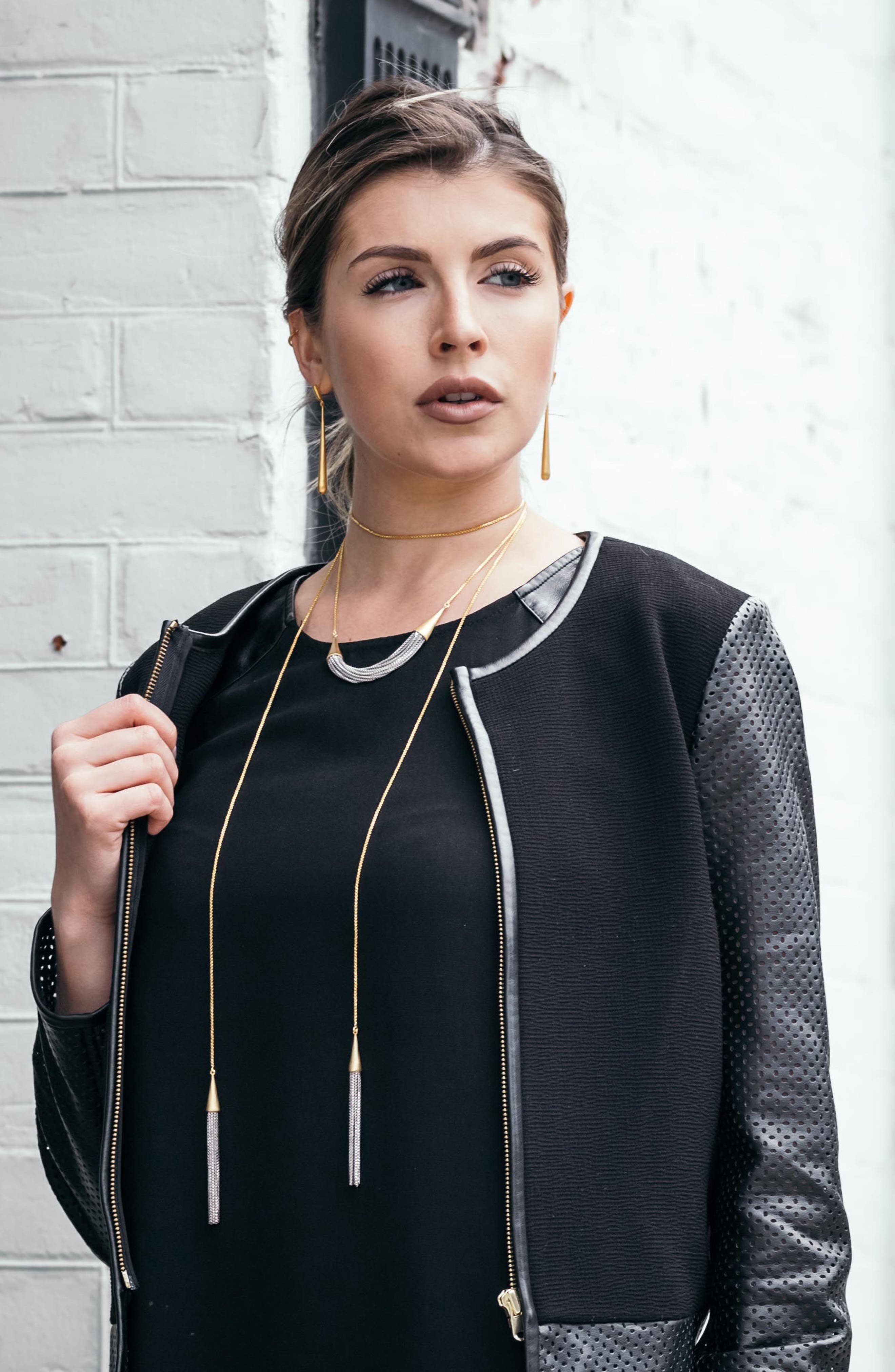 Liquid Chain Collar Necklace,                             Alternate thumbnail 5, color,                             Gold/ Silver