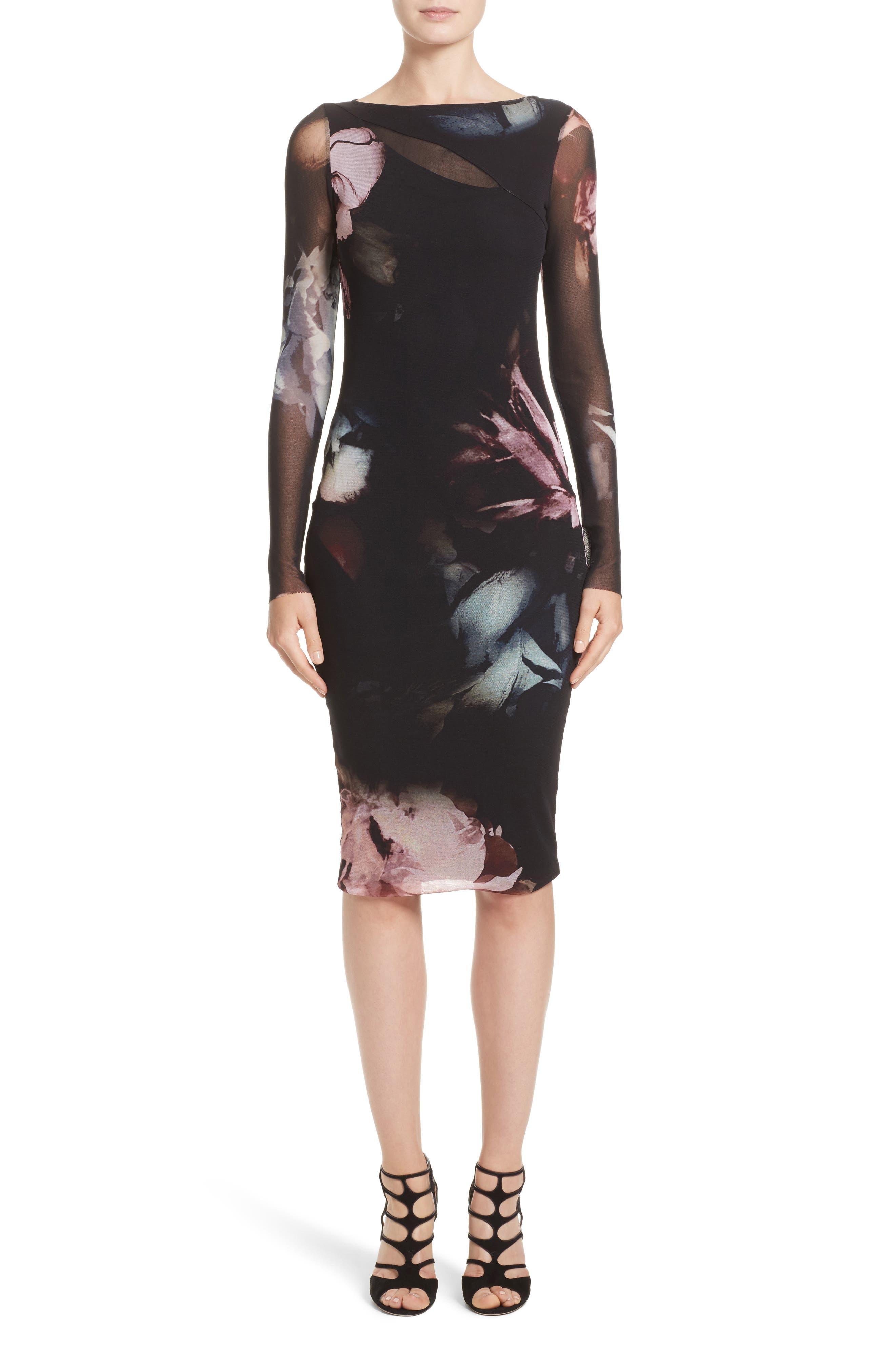 Slash Cutout Floral Print Tulle Dress,                         Main,                         color, Graphite