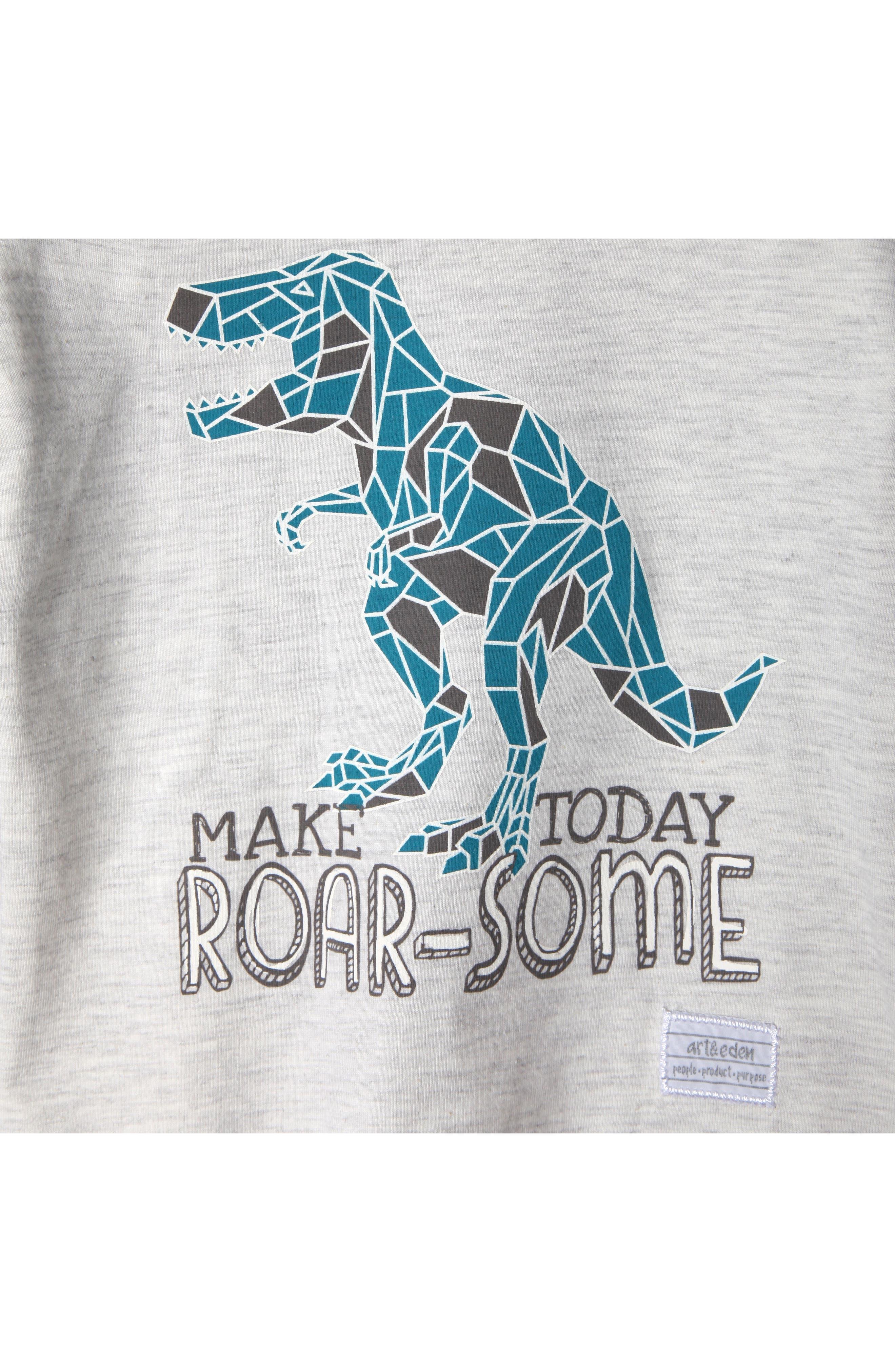 Mini Dino Organic Cotton T-Shirt,                             Alternate thumbnail 2, color,                             Marled
