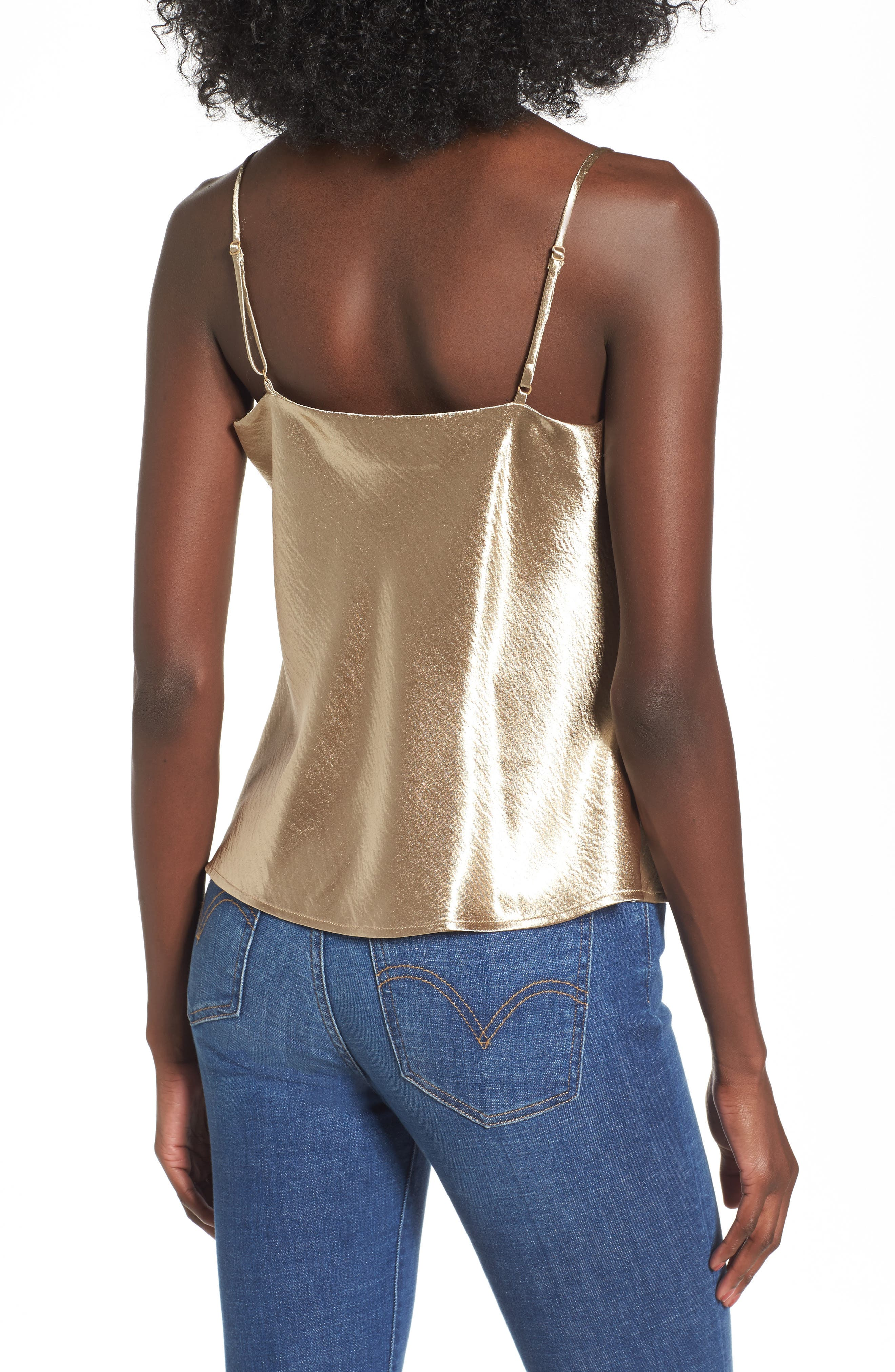 Metallic Cowl Neck Top,                             Alternate thumbnail 2, color,                             Brushed Gold