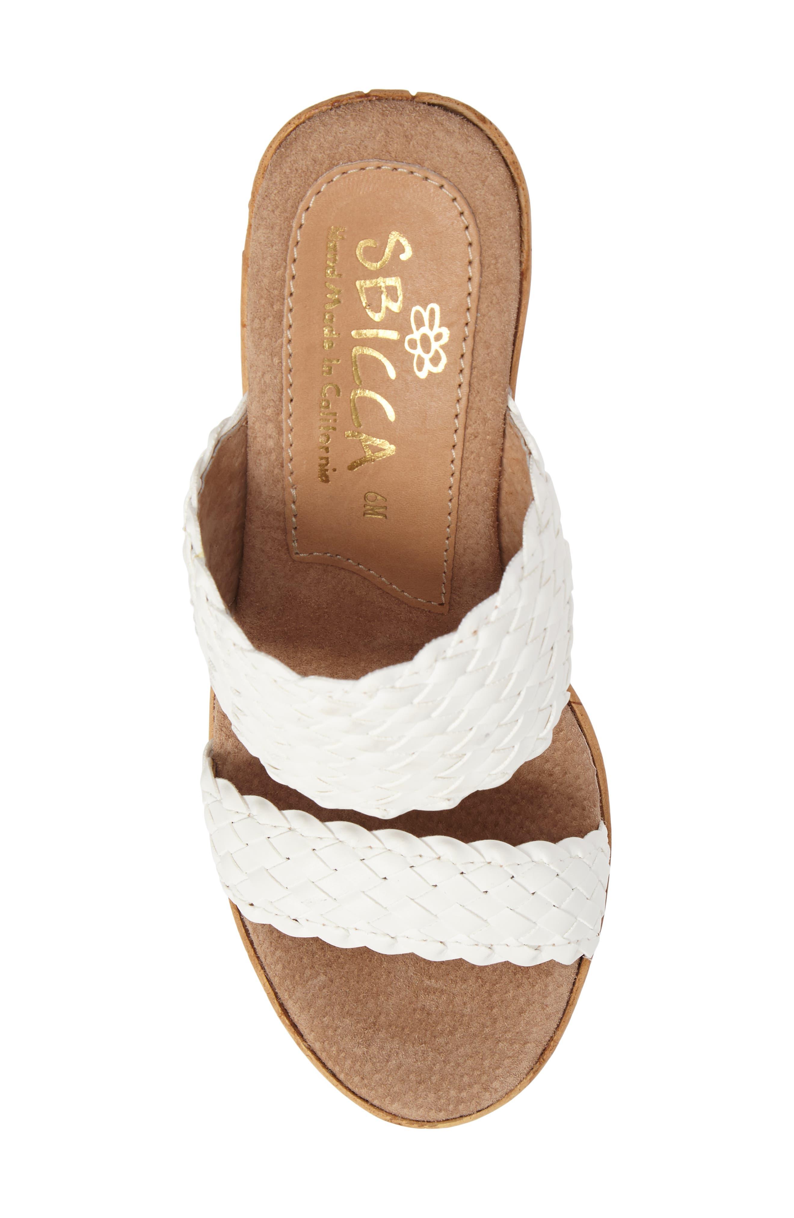 Halima Platform Wedge Sandal,                             Alternate thumbnail 5, color,                             White Leather