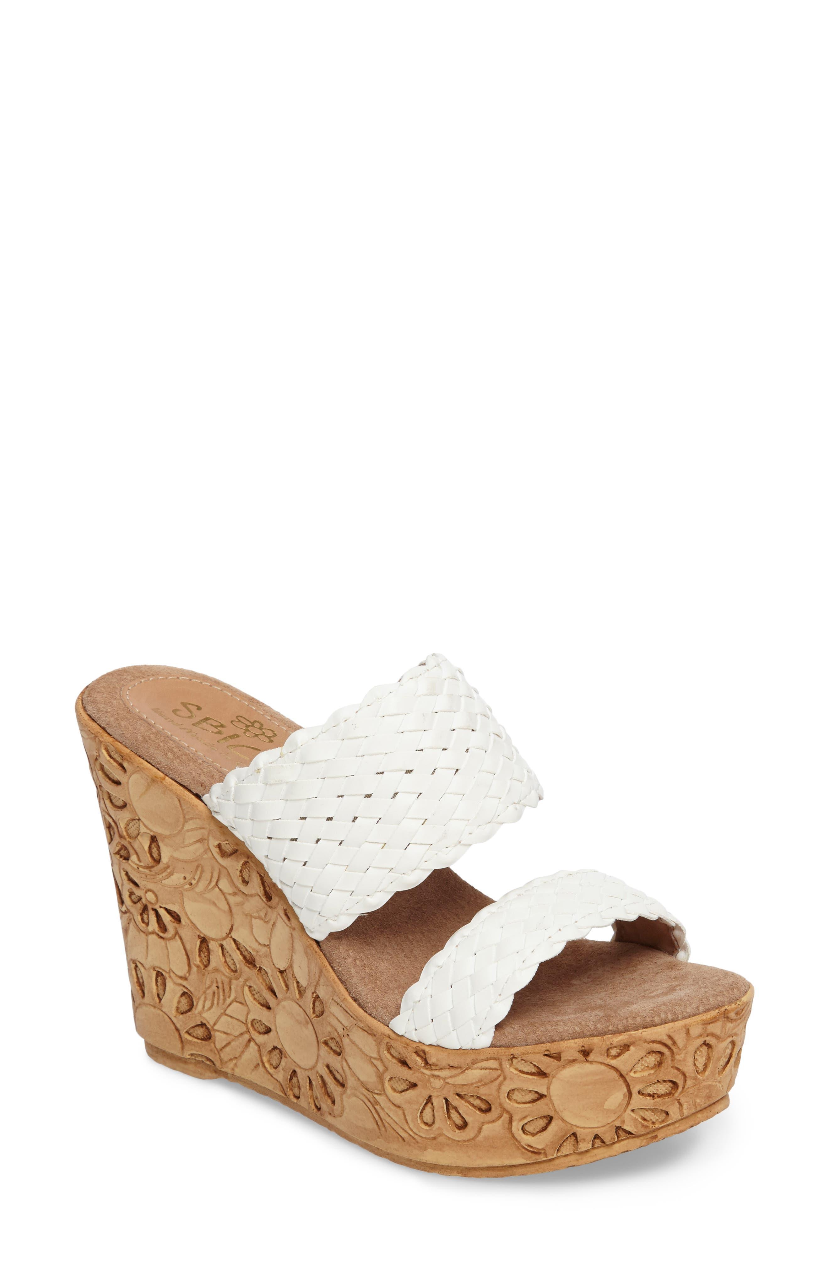 Halima Platform Wedge Sandal,                             Main thumbnail 1, color,                             White Leather