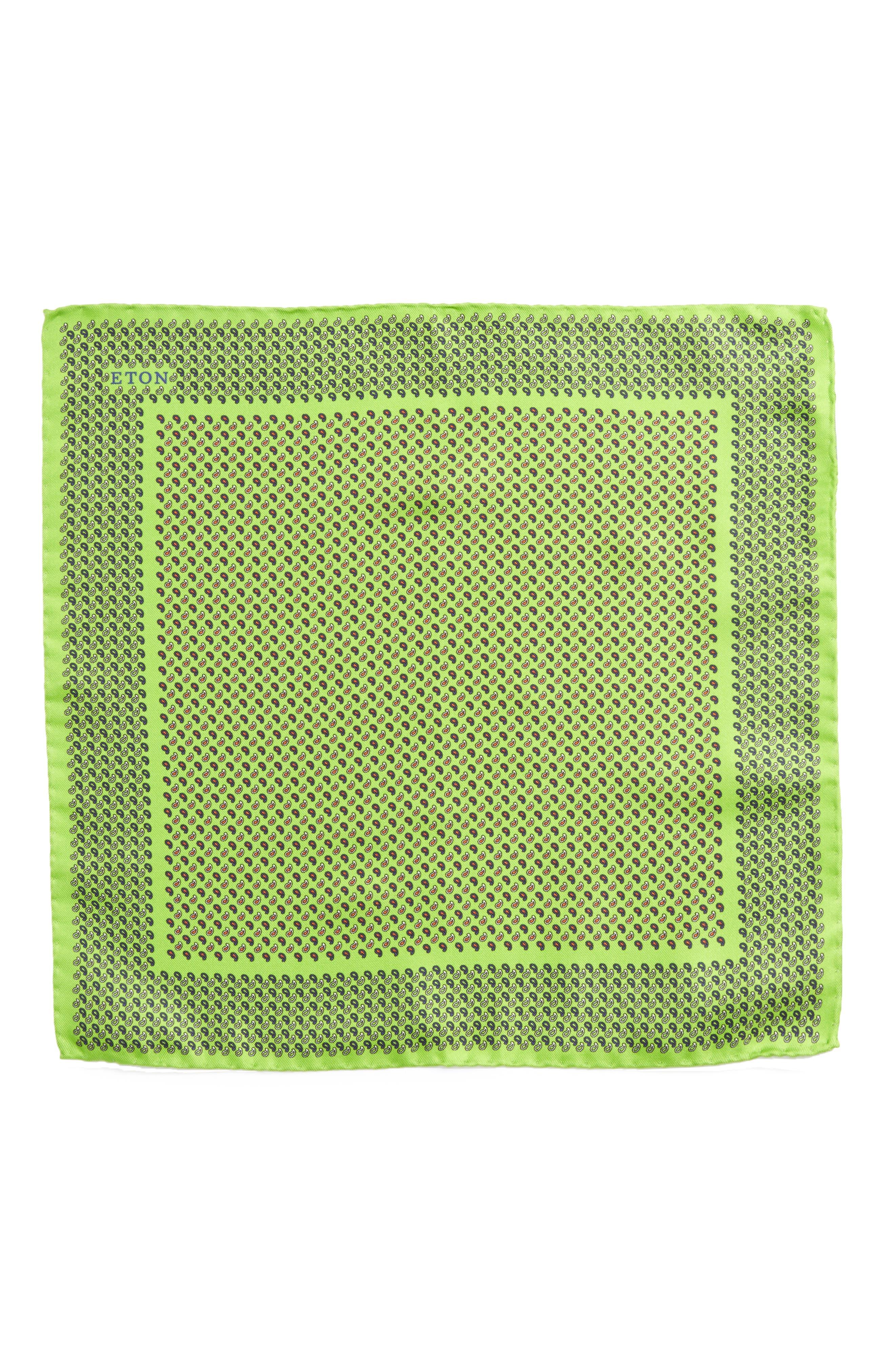 Paisley Silk Pocket Square,                             Alternate thumbnail 2, color,                             Green