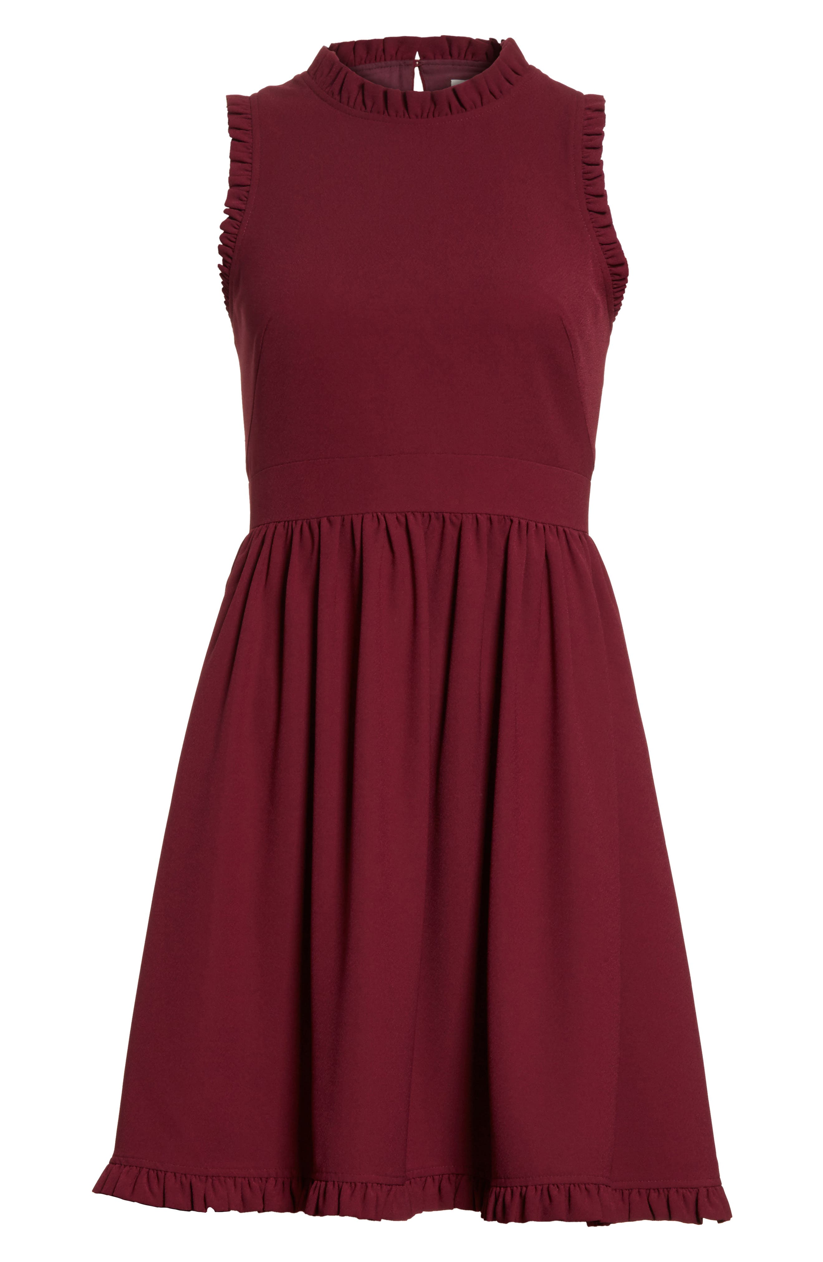 ruffle trim fit & flare dress,                             Alternate thumbnail 6, color,                             Burgundy