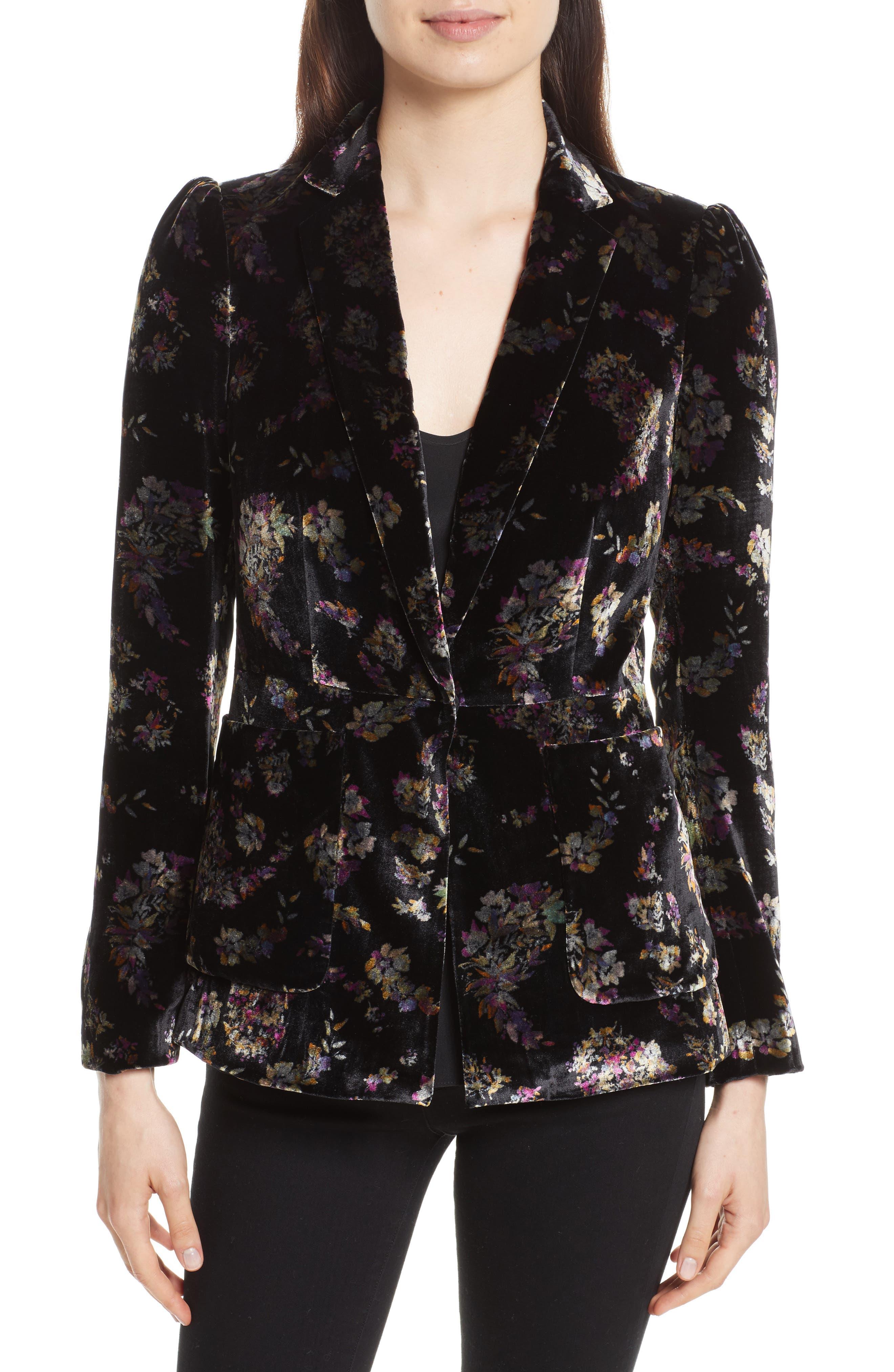 Jewel Velvet Blazer,                         Main,                         color, Black Combo