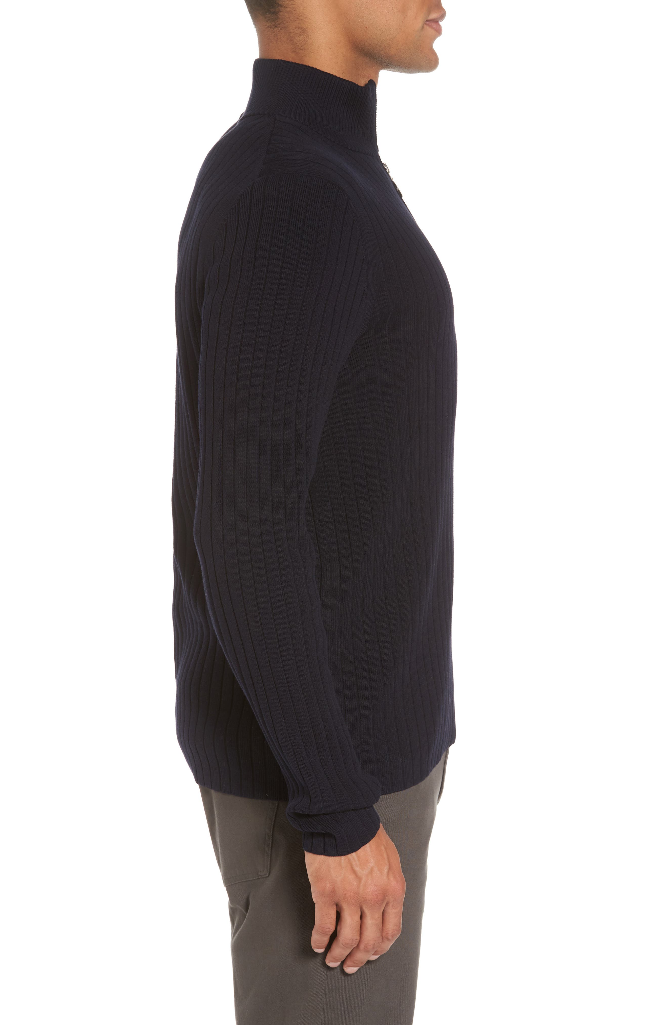 Half Zip Mock Neck Sweater,                             Alternate thumbnail 3, color,                             Coastal
