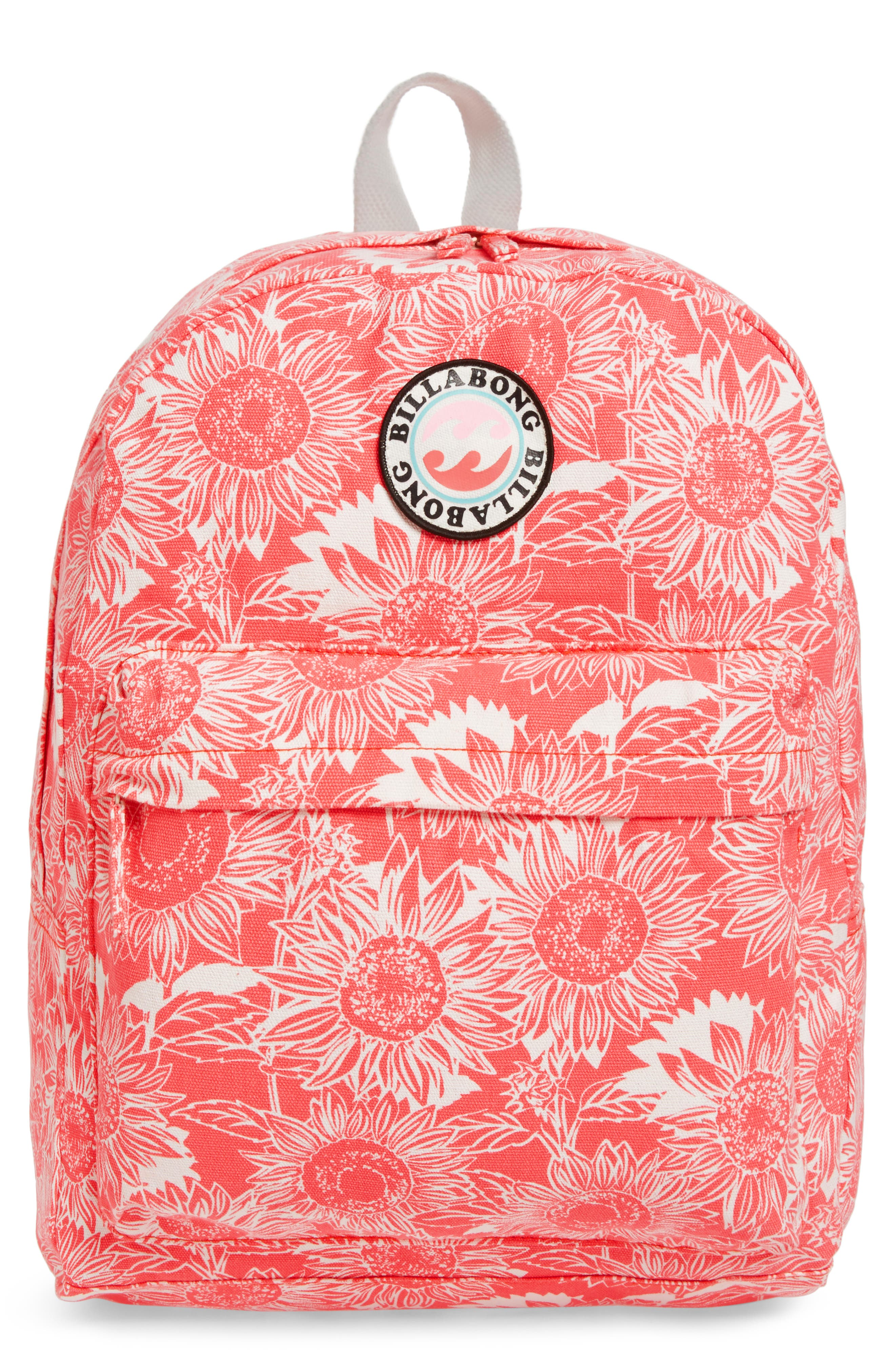 Play Date Canvas Backpack,                             Main thumbnail 1, color,                             Vintage Coral