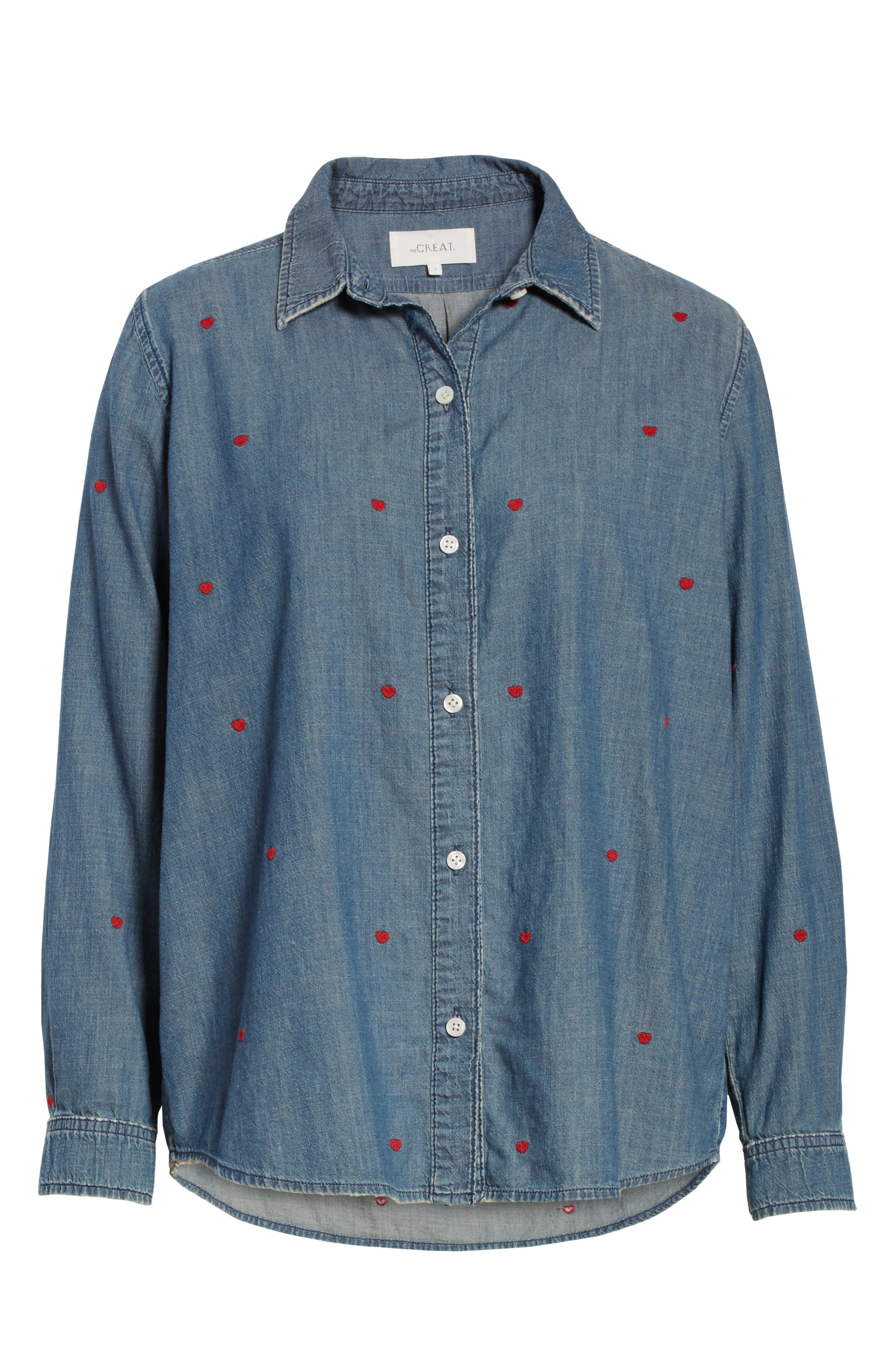 The Campus Embroidered Shirt,                             Alternate thumbnail 6, color,                             Semester Wash/ Heart