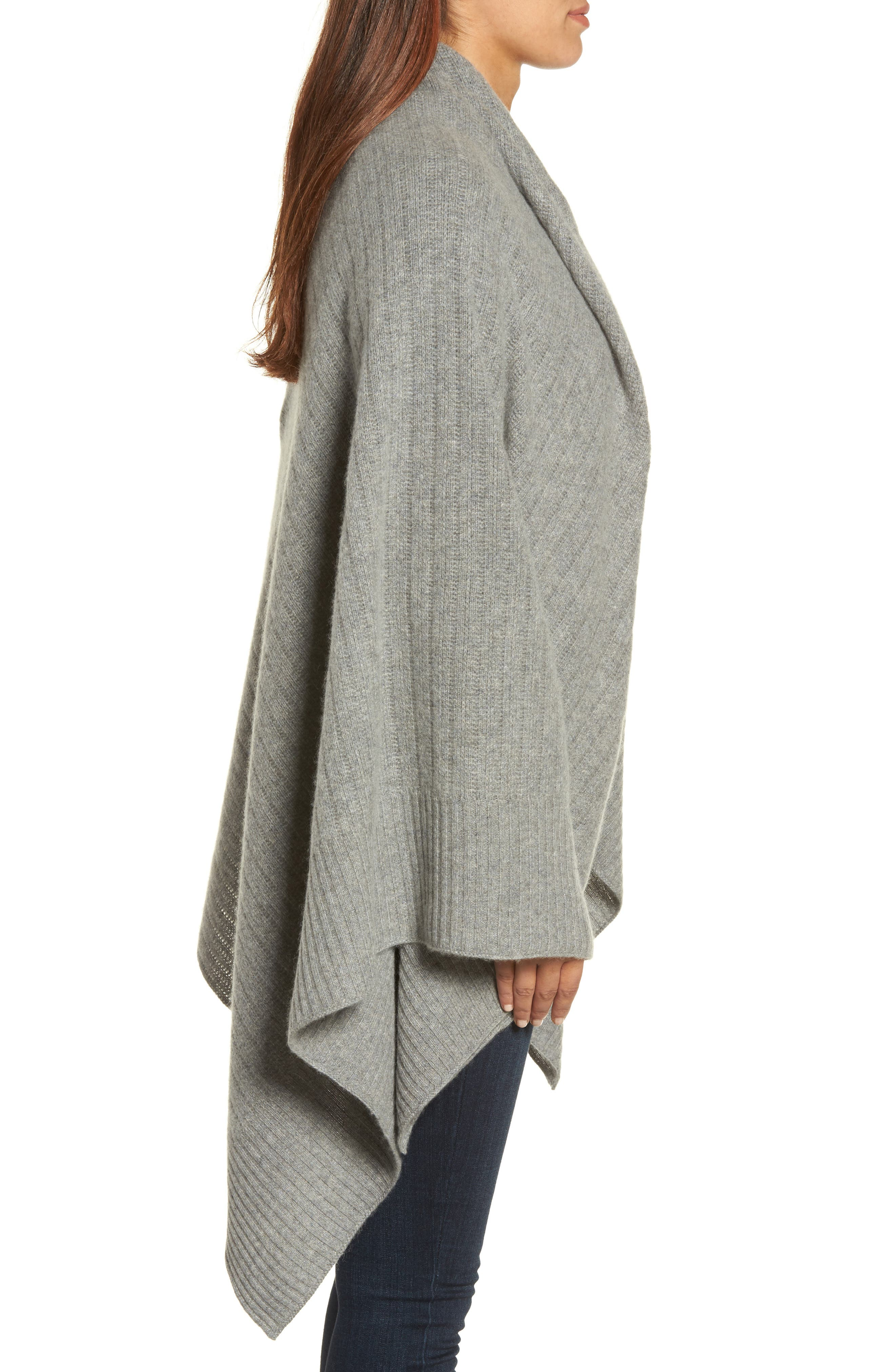 Cashmere Wrap,                             Alternate thumbnail 3, color,                             Grey Med Htr