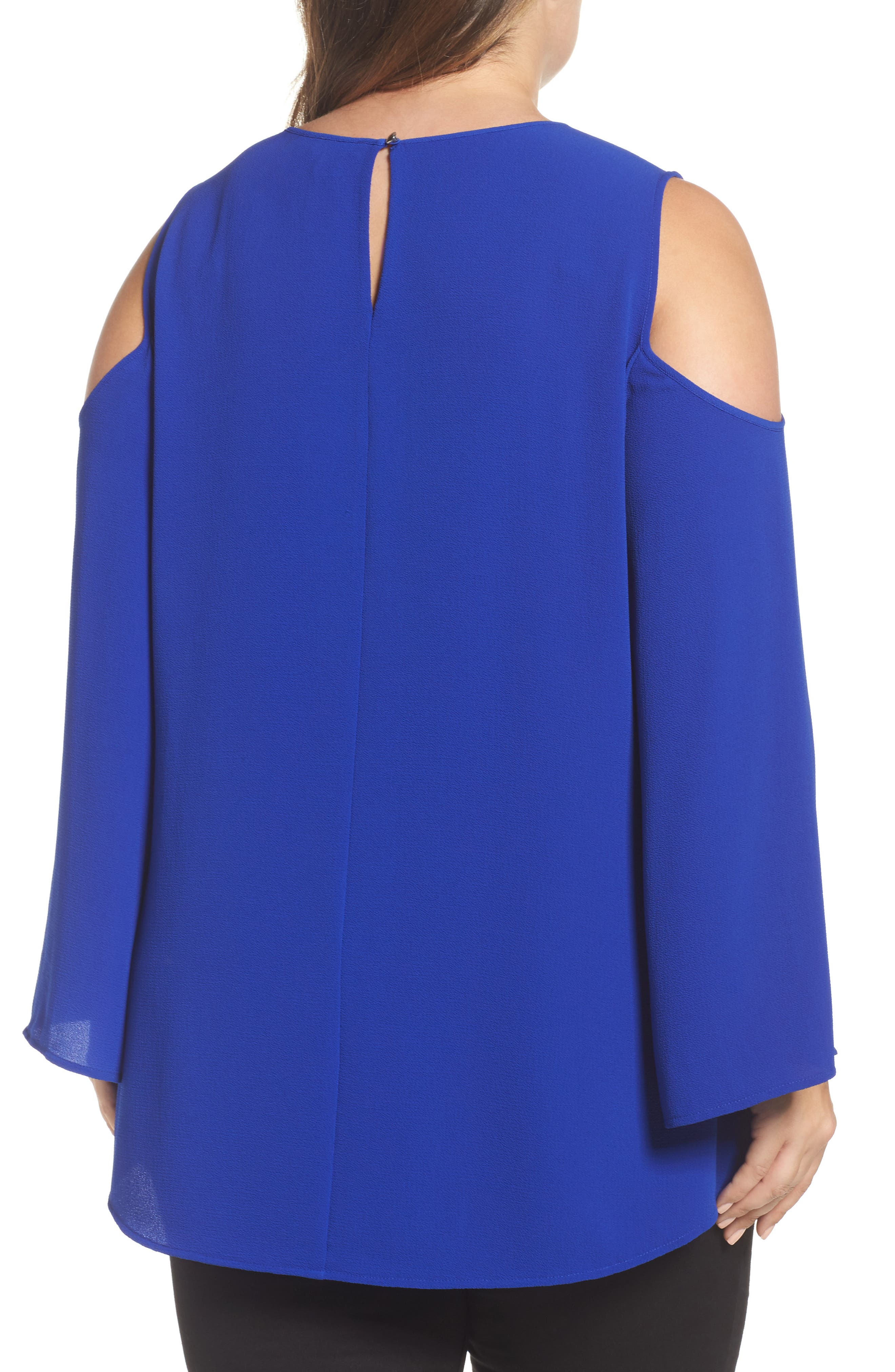 Bell Sleeve Cold Shoulder Blouse,                             Alternate thumbnail 2, color,                             Vivid Blue