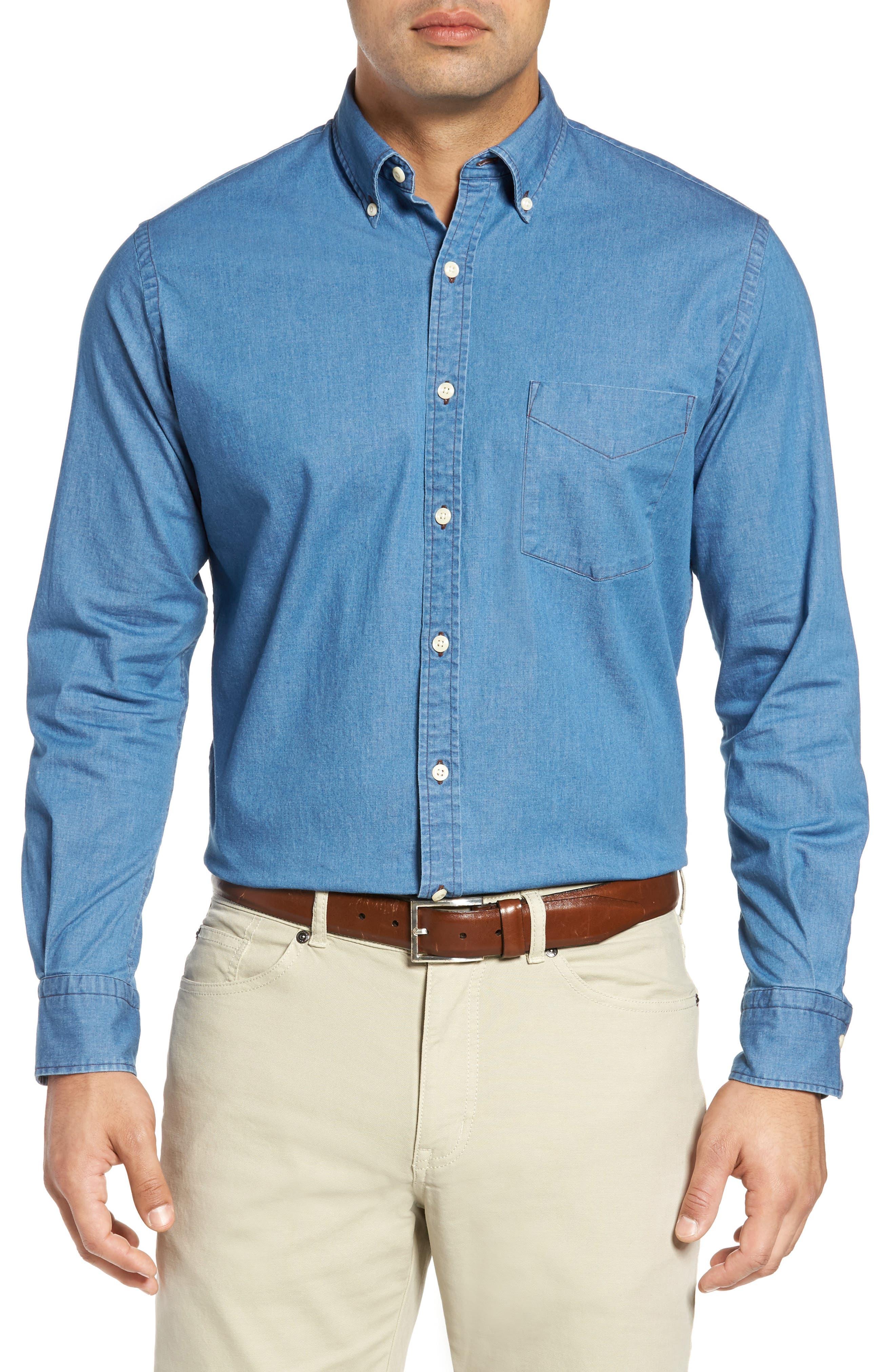 Crown Vintage Regular Fit Denim Sport Shirt,                             Main thumbnail 1, color,                             Indigo
