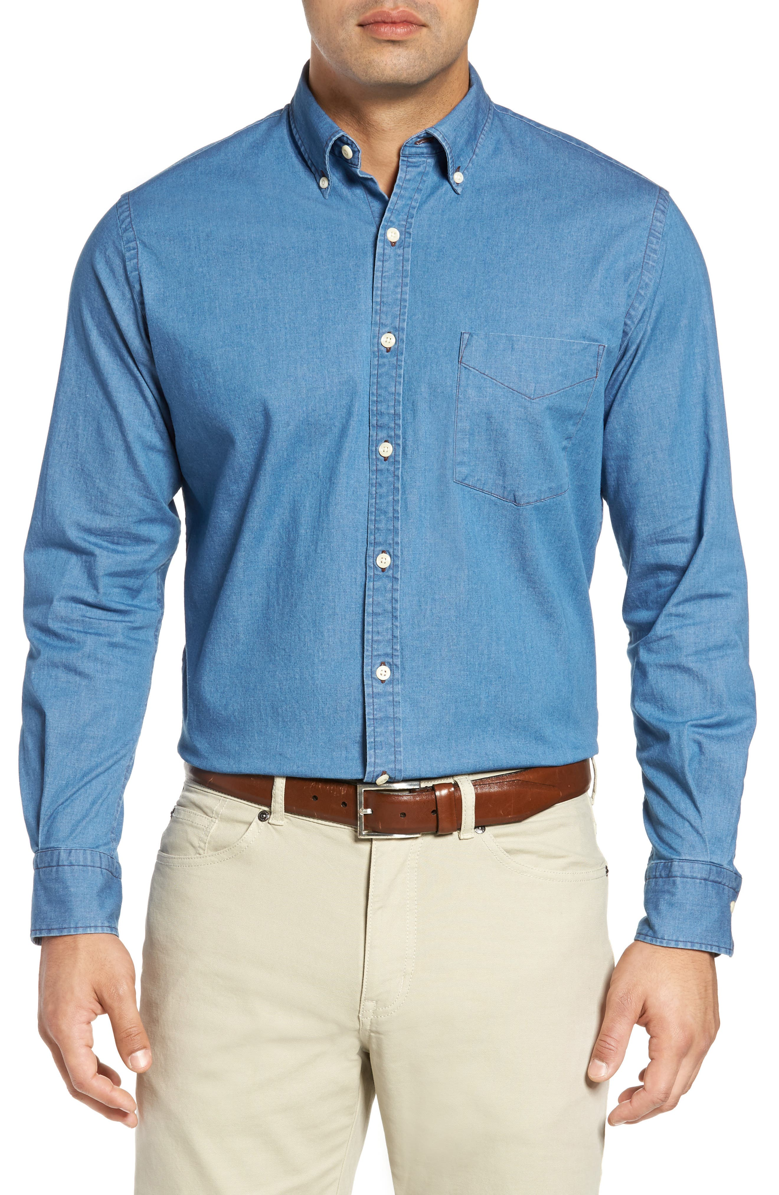 Crown Vintage Regular Fit Denim Sport Shirt,                         Main,                         color, Indigo