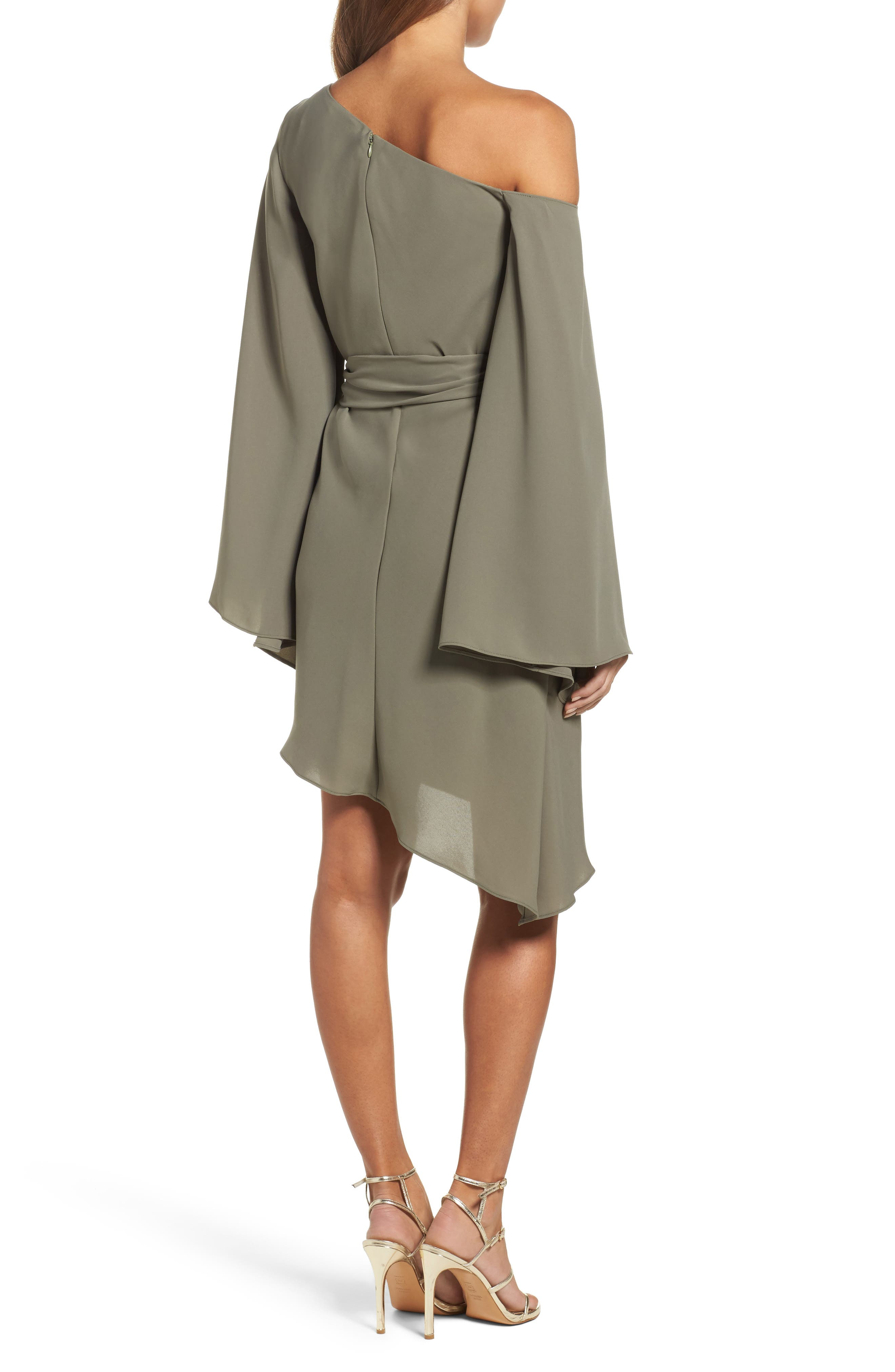 Beyond Me One-Shoulder Dress,                             Alternate thumbnail 3, color,                             Khaki
