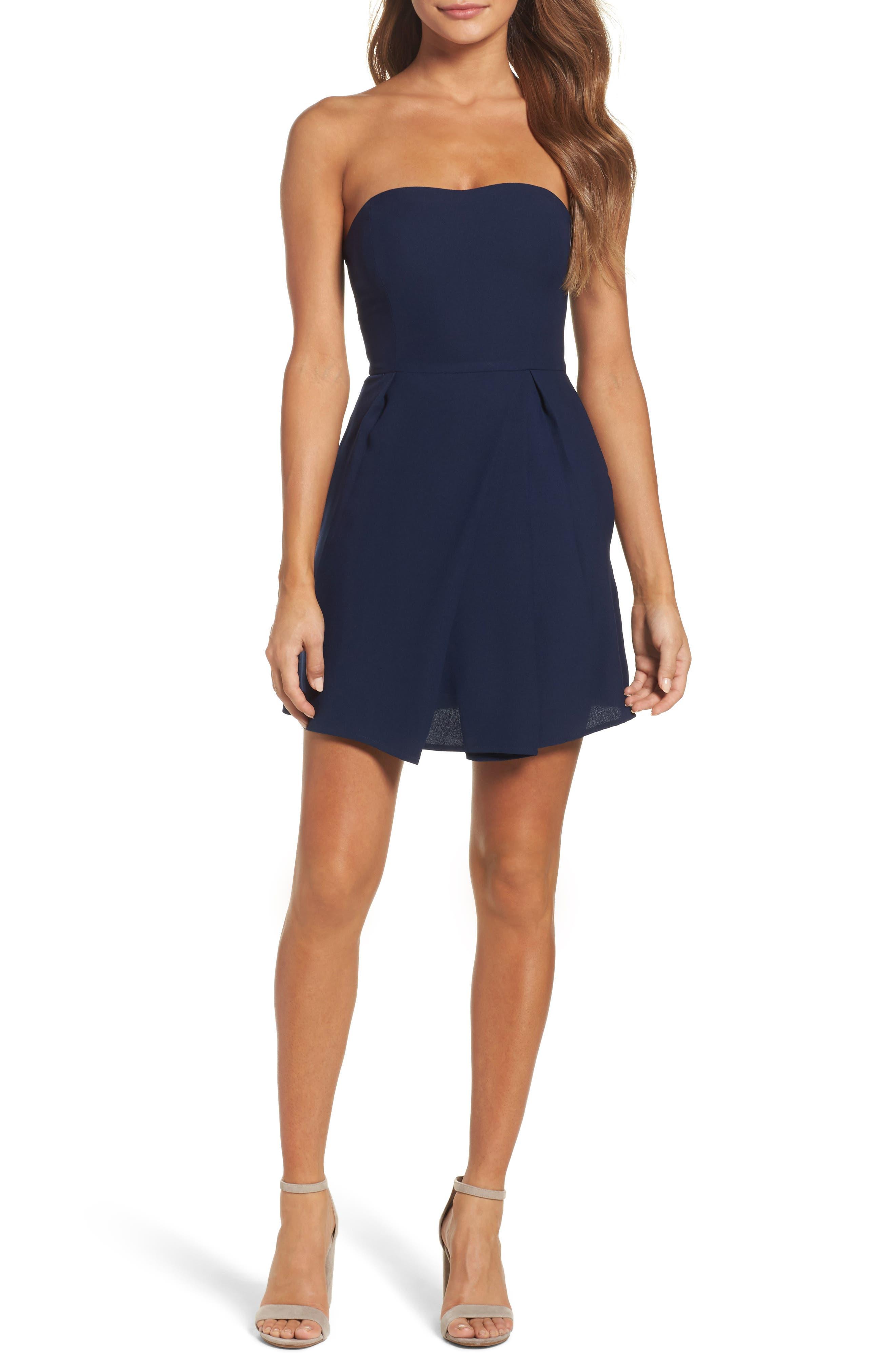 Strapless Crepe Minidress,                         Main,                         color, Navy