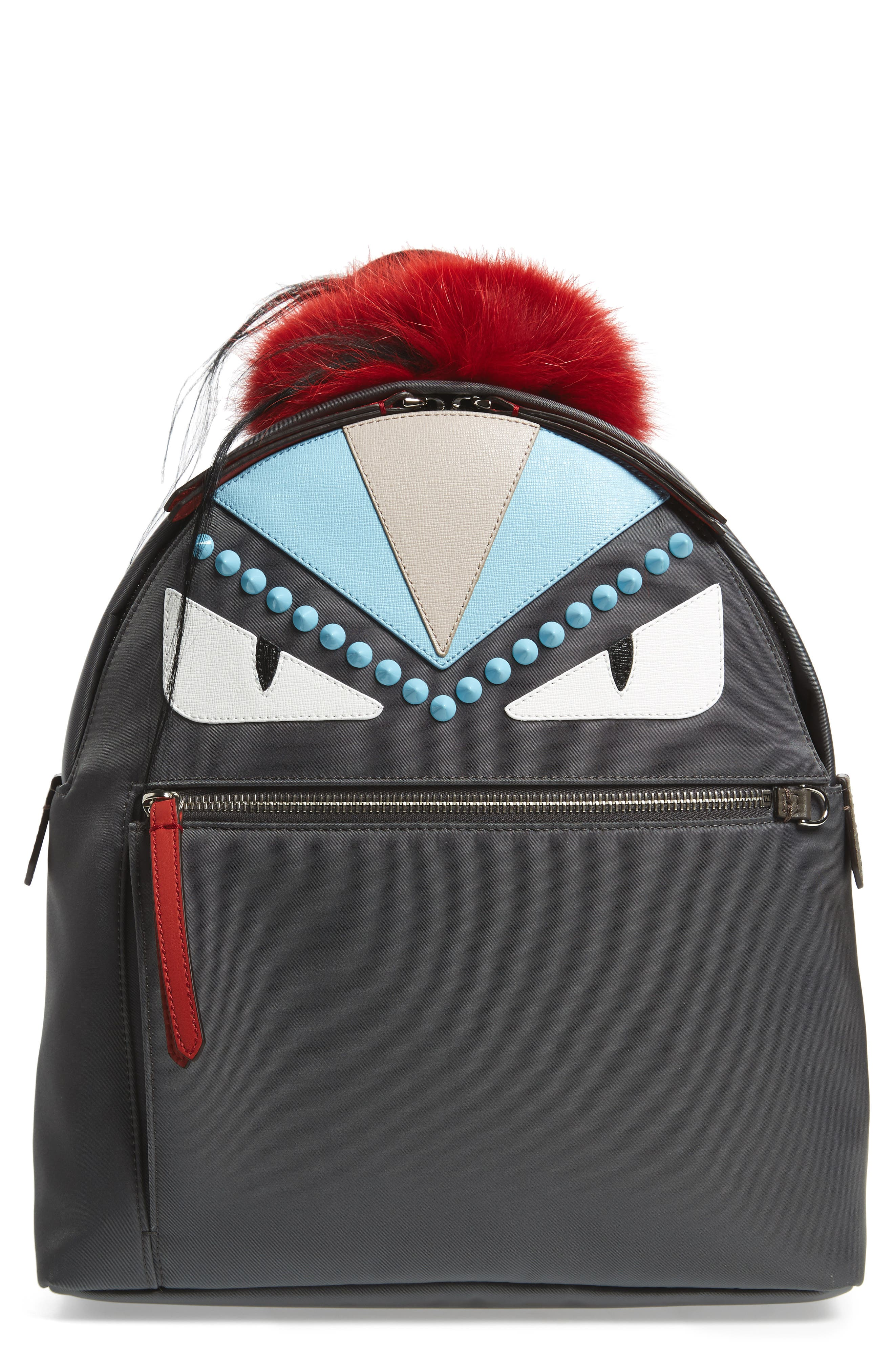 FENDI Monster Genuine Fur Trim Nylon Backpack
