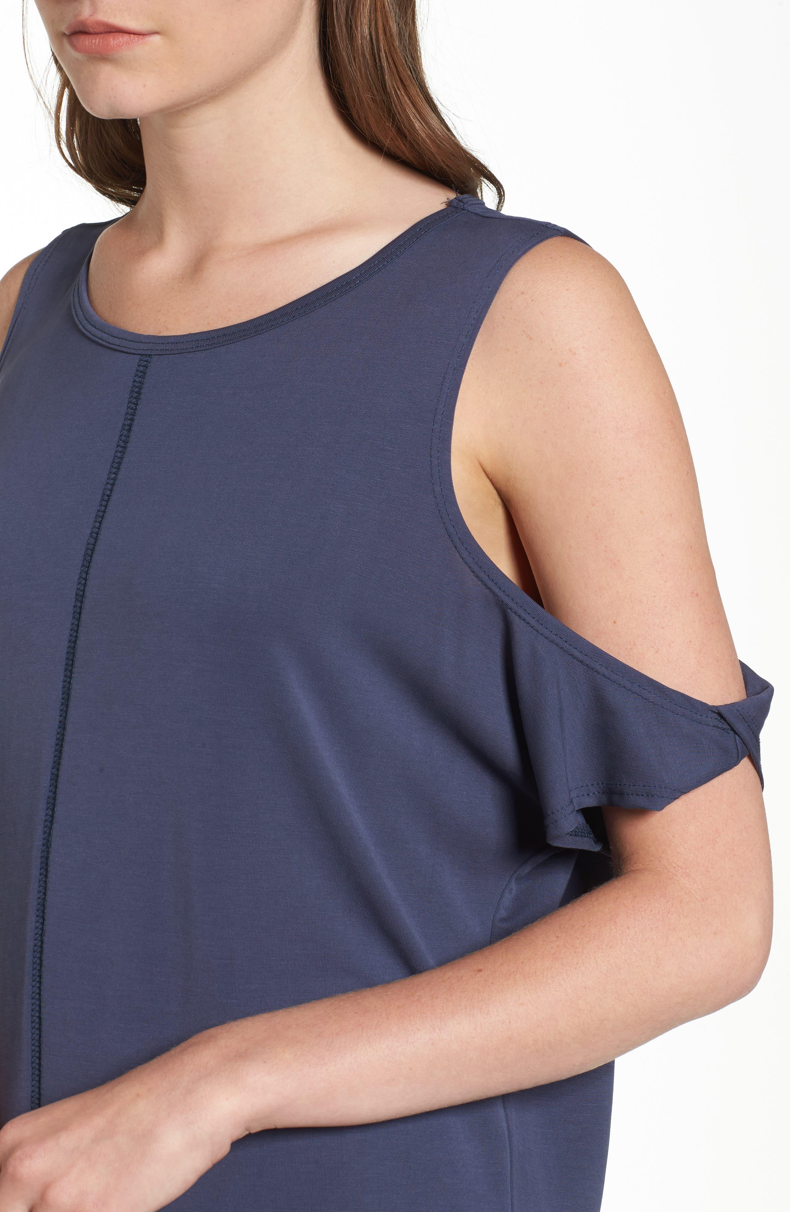 Twisted Cold Shoulder Dress,                             Alternate thumbnail 4, color,                             Denim Navy