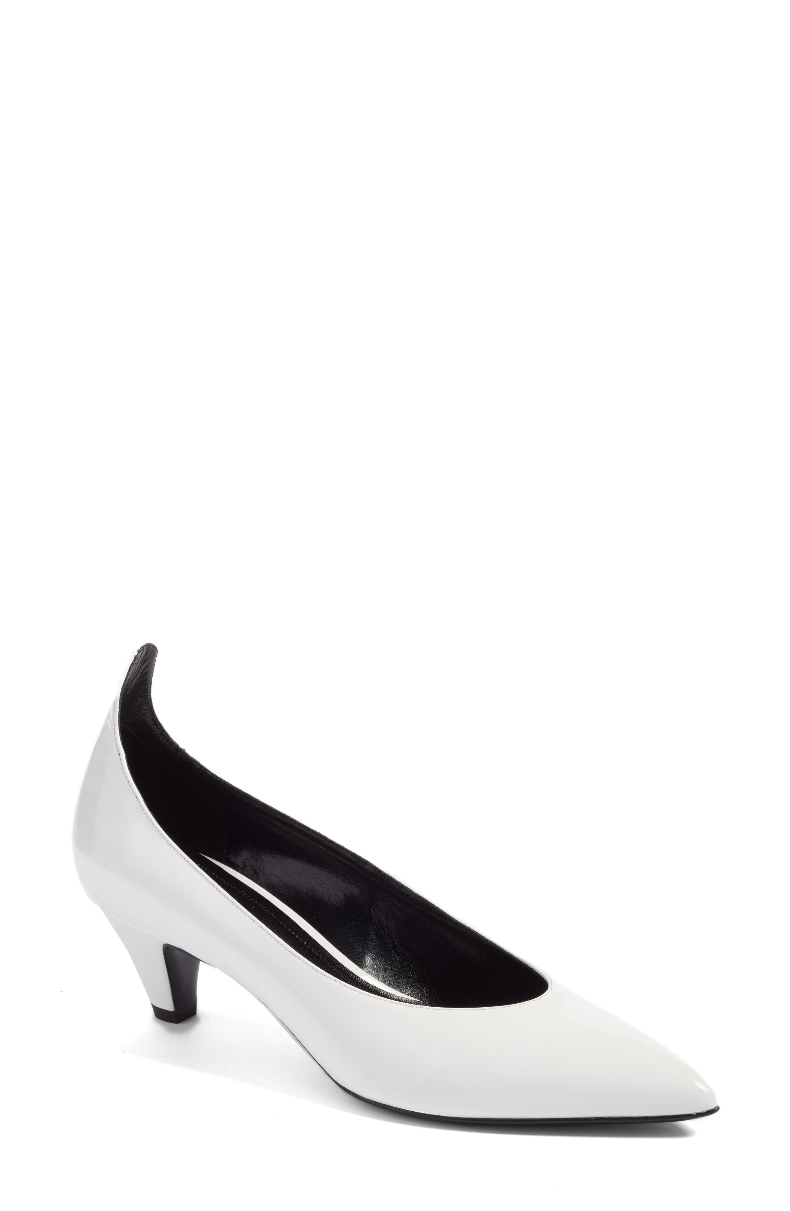 Kait Pointy Toe Pump,                         Main,                         color, White Patent