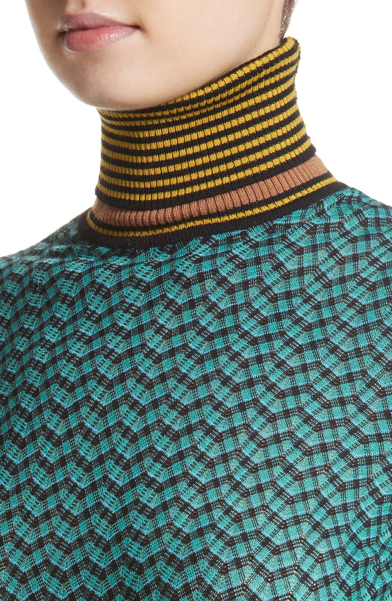 Zigzag & Stripe Mock Neck Sweater,                             Alternate thumbnail 4, color,                             Green/ Blue