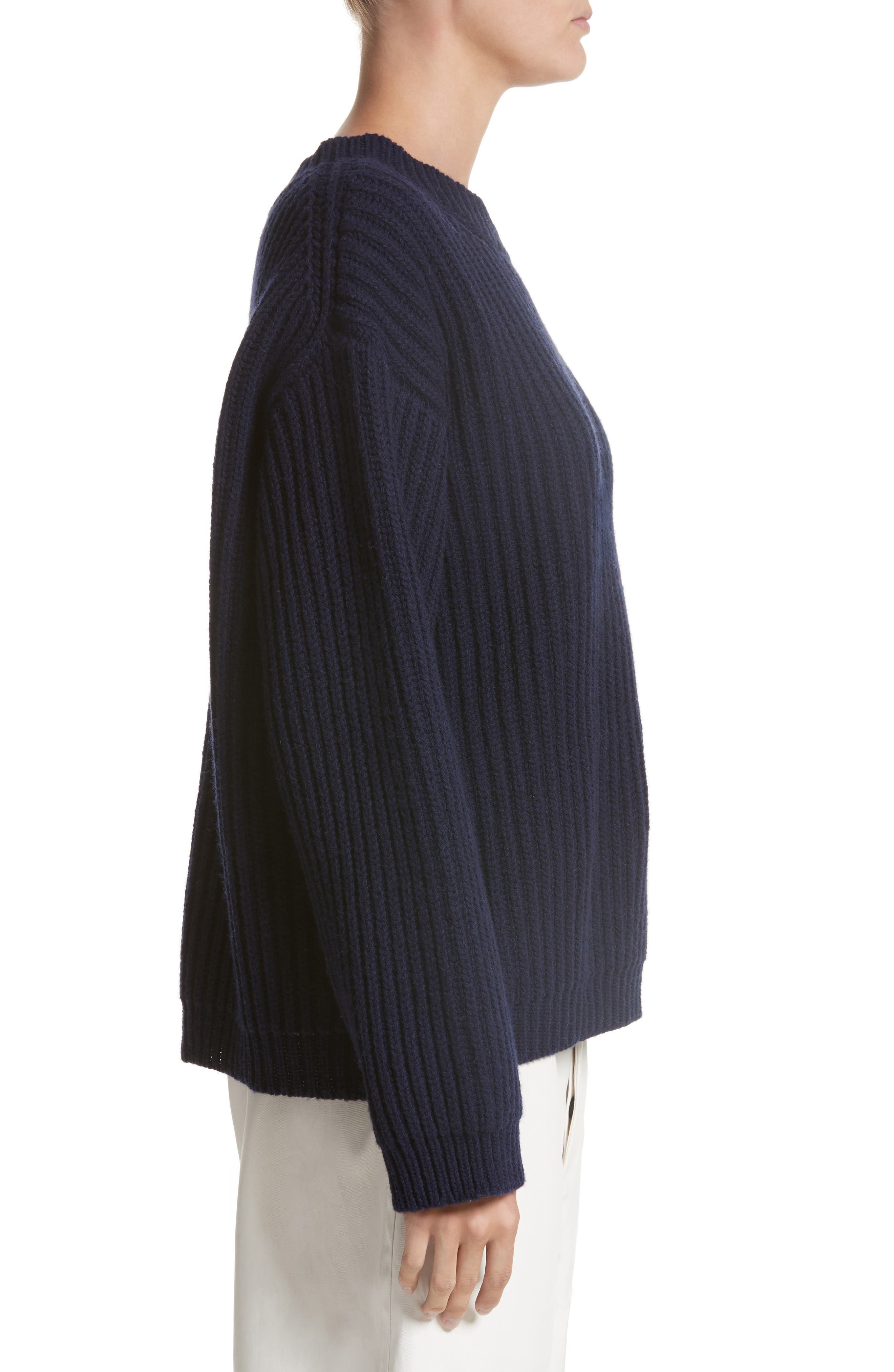 Crop Wool Sweater,                             Alternate thumbnail 5, color,                             Navy