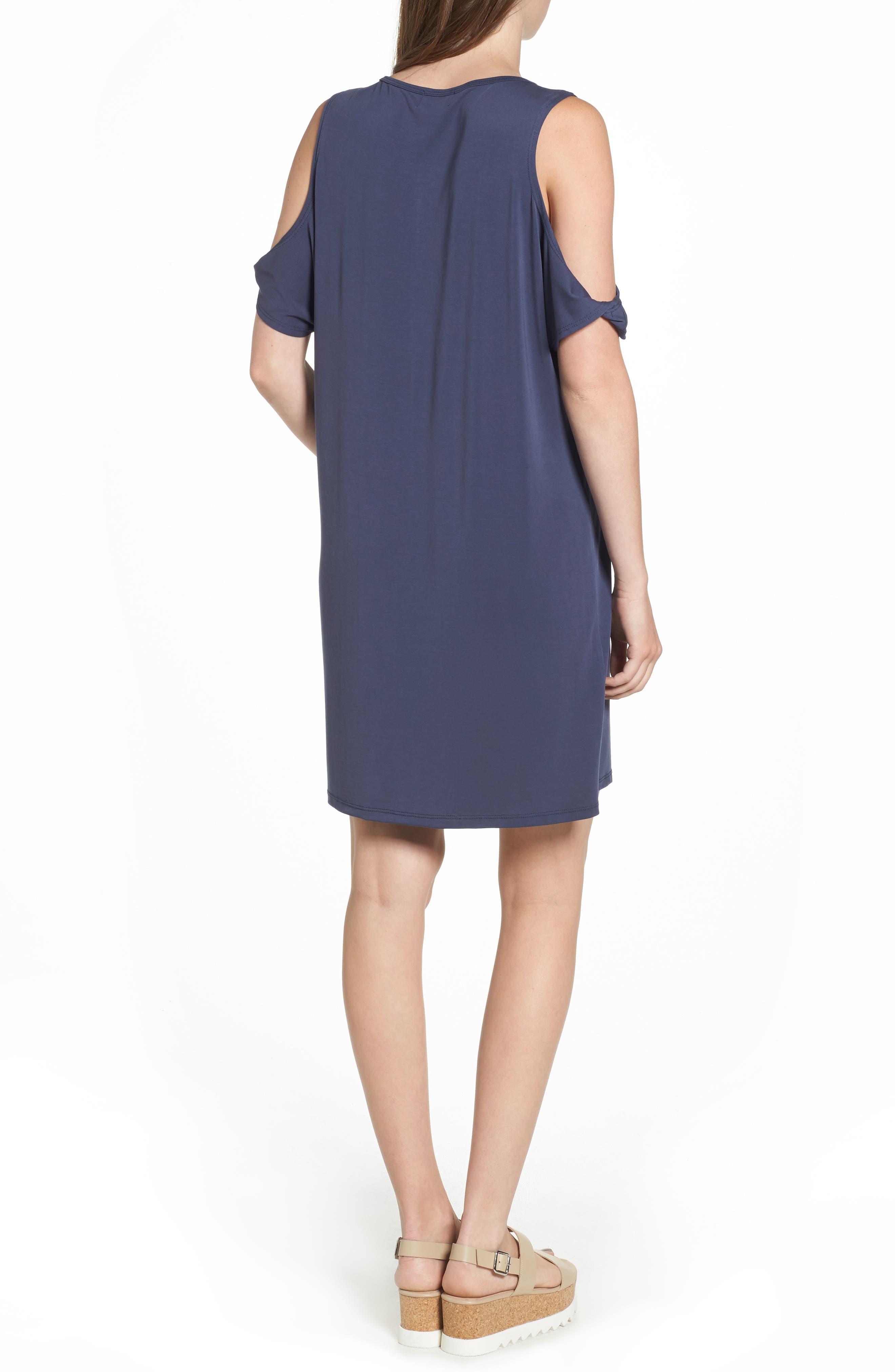 Twisted Cold Shoulder Dress,                             Alternate thumbnail 2, color,                             Denim Navy