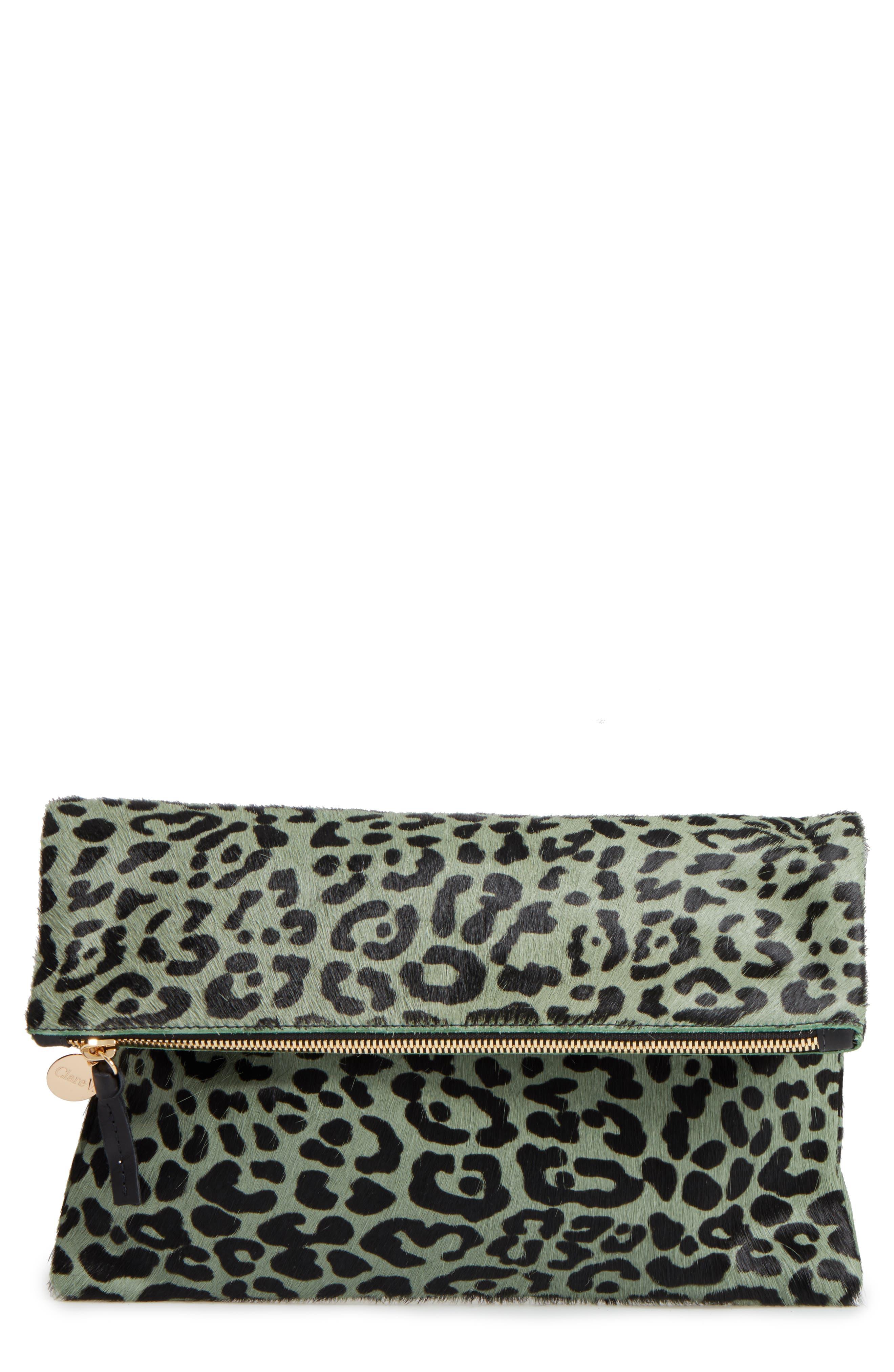 Clare V. Leopard Print Genuine Calf Hair Foldover Clutch