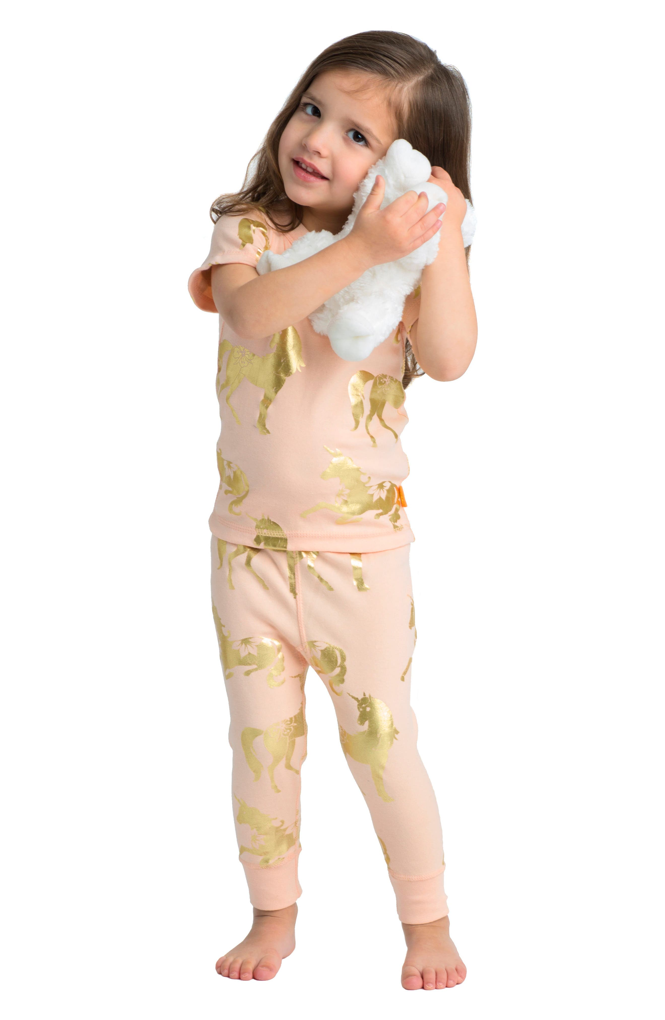 Alternate Image 2  - Masalababy Unicorn Organic Cotton Fitted Two-Piece Pajamas (Baby Girls)