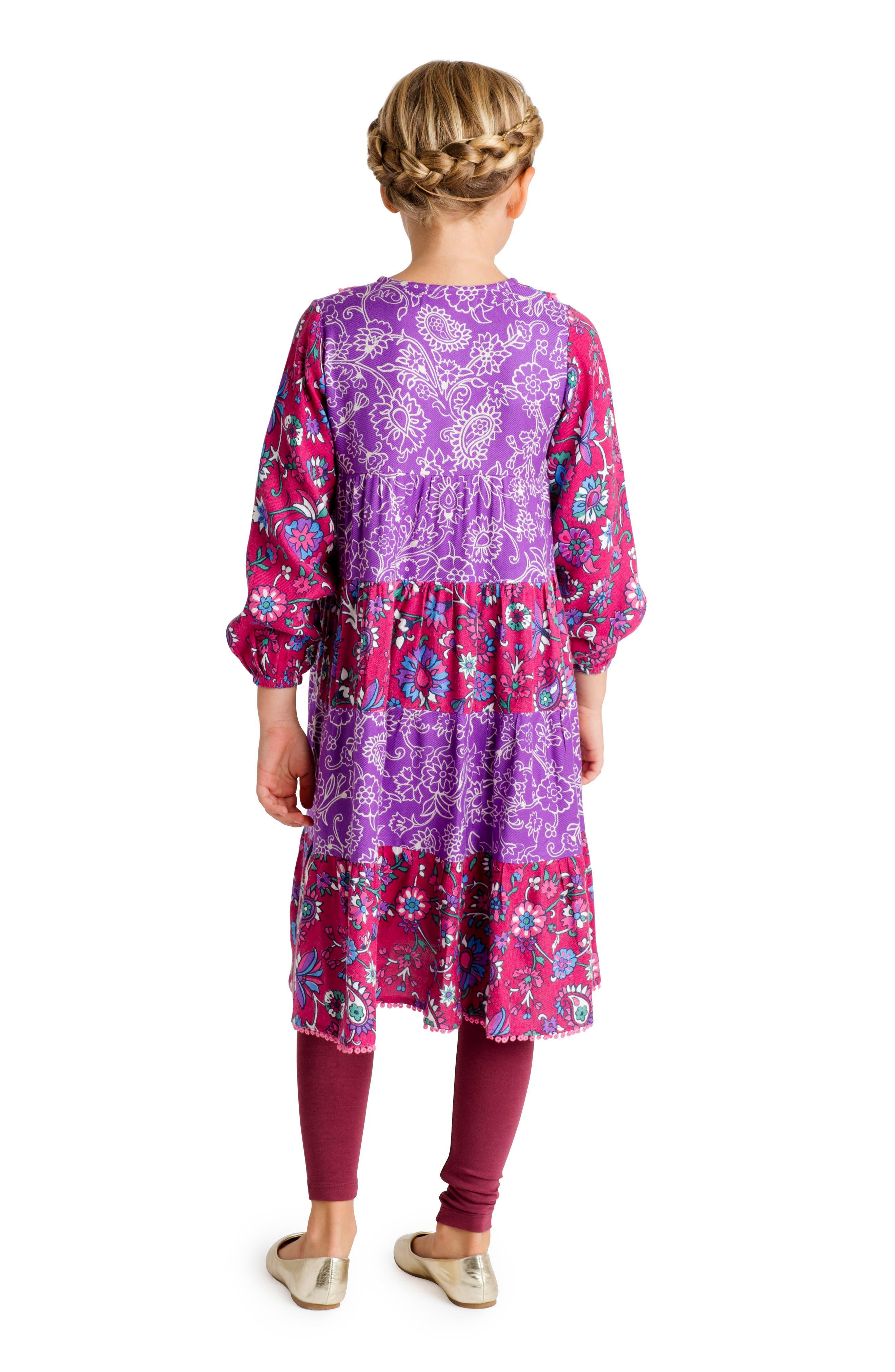 Tiered Floral Dress,                             Alternate thumbnail 3, color,                             Purple Multi