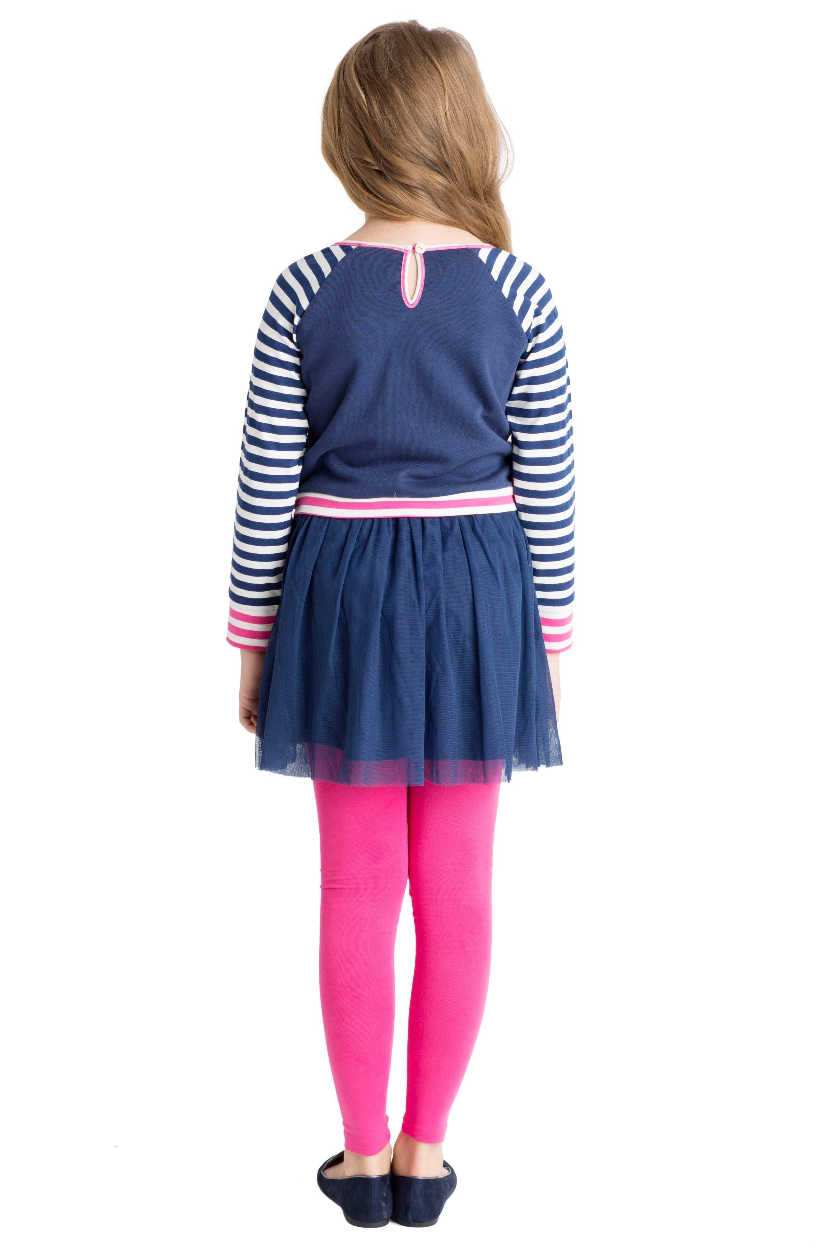 Alternate Image 4  - Masalababy Floral & Stripe Organic Cotton Dress (Toddler Girls, Little Girls & Big Girls)