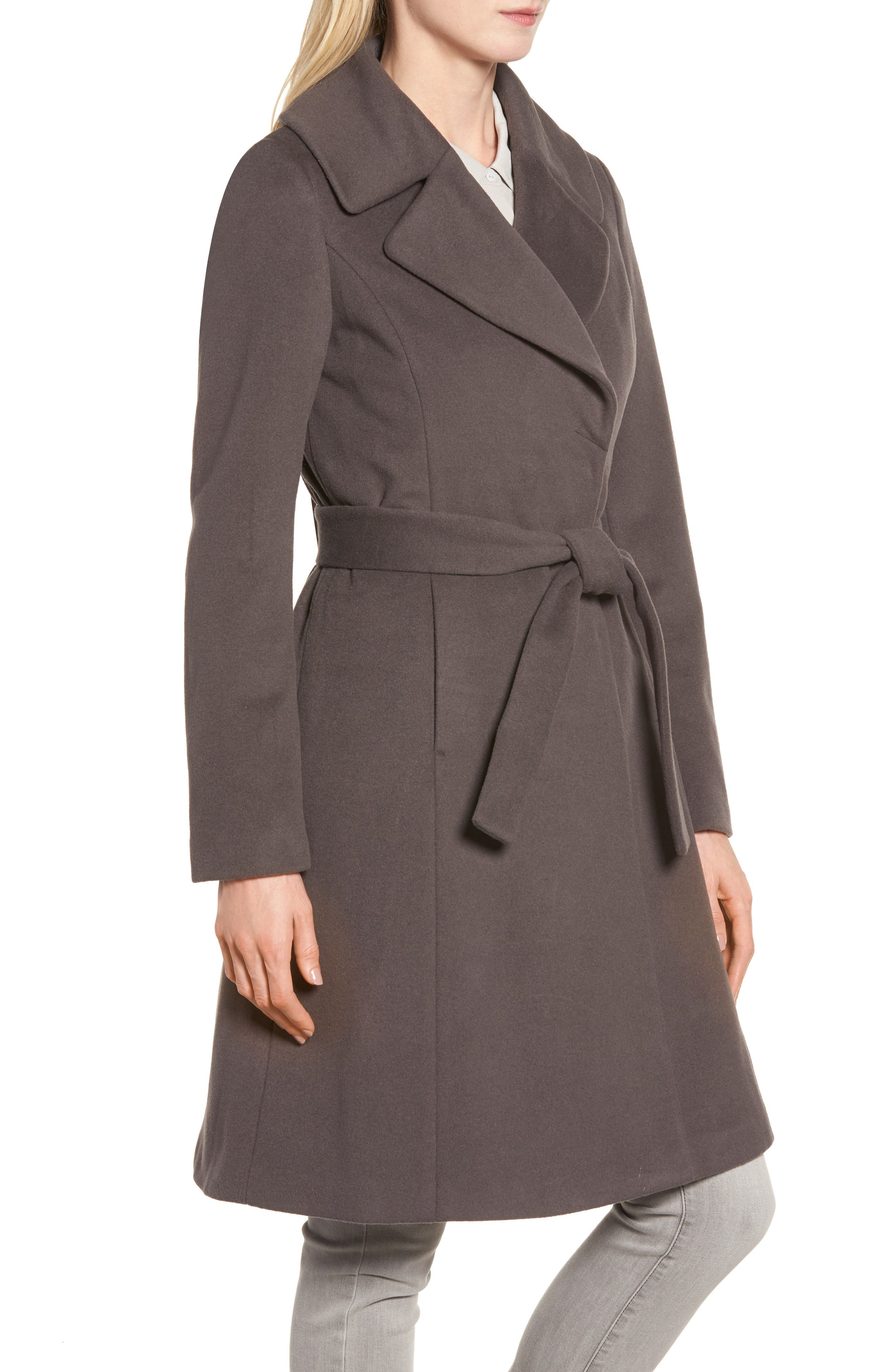 Fiona Wrap Coat with Removable Faux Fur Collar,                             Alternate thumbnail 4, color,                             Moon Grey