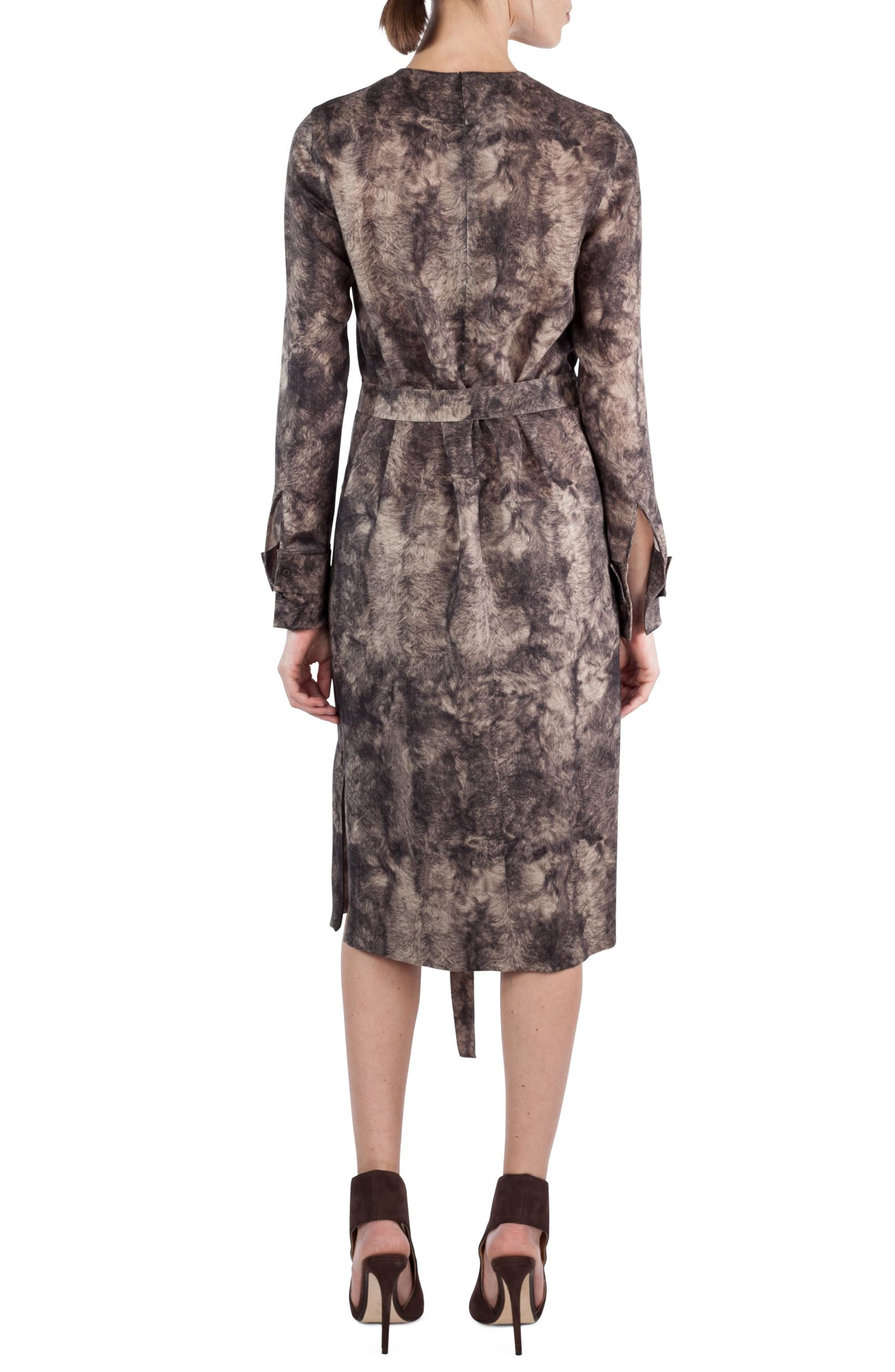 Print Wool Dress,                             Alternate thumbnail 2, color,                             Taupe-Sepia