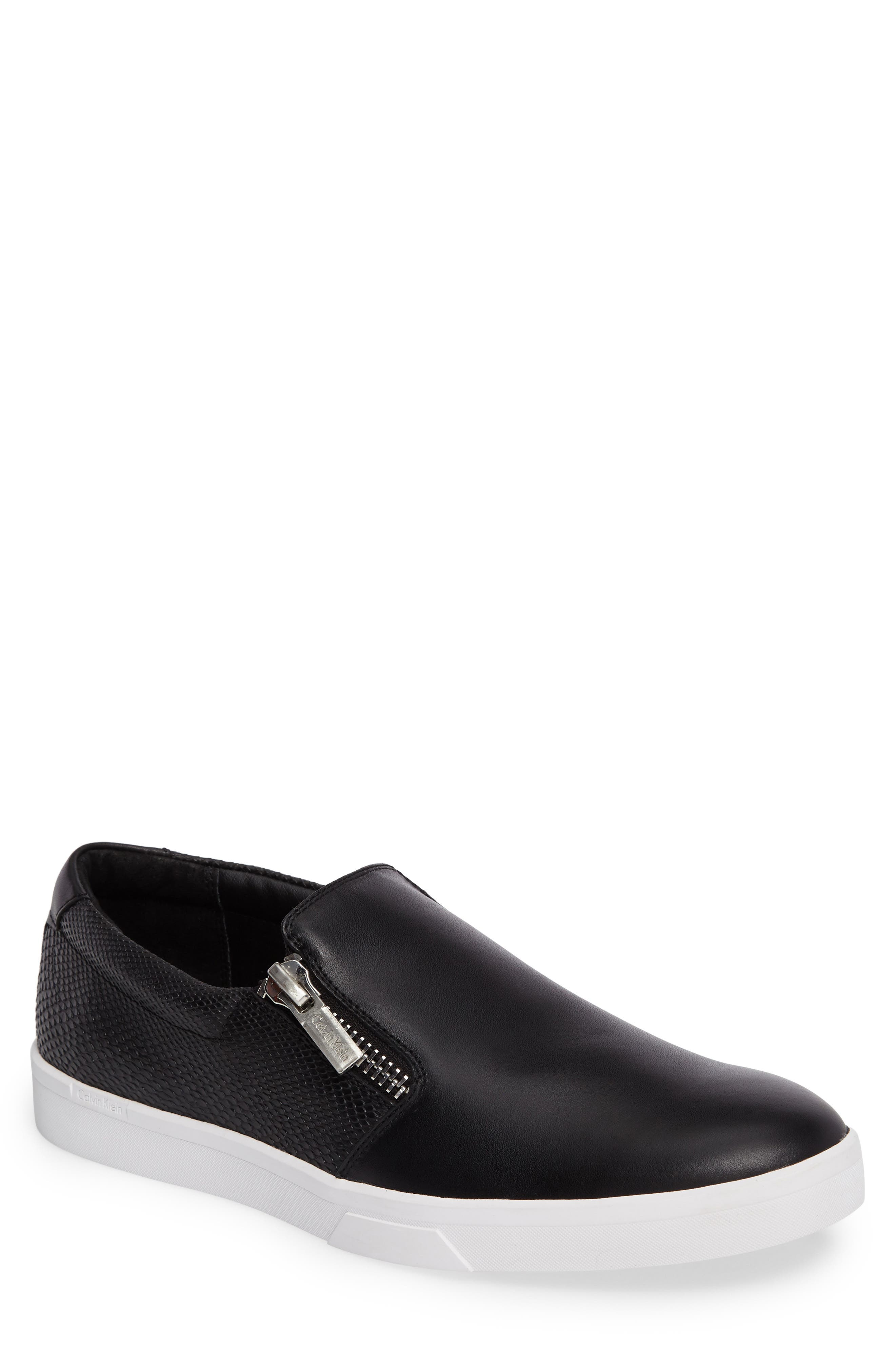 Ibiza Slip-On Zip Sneaker,                             Main thumbnail 1, color,                             Black Leather