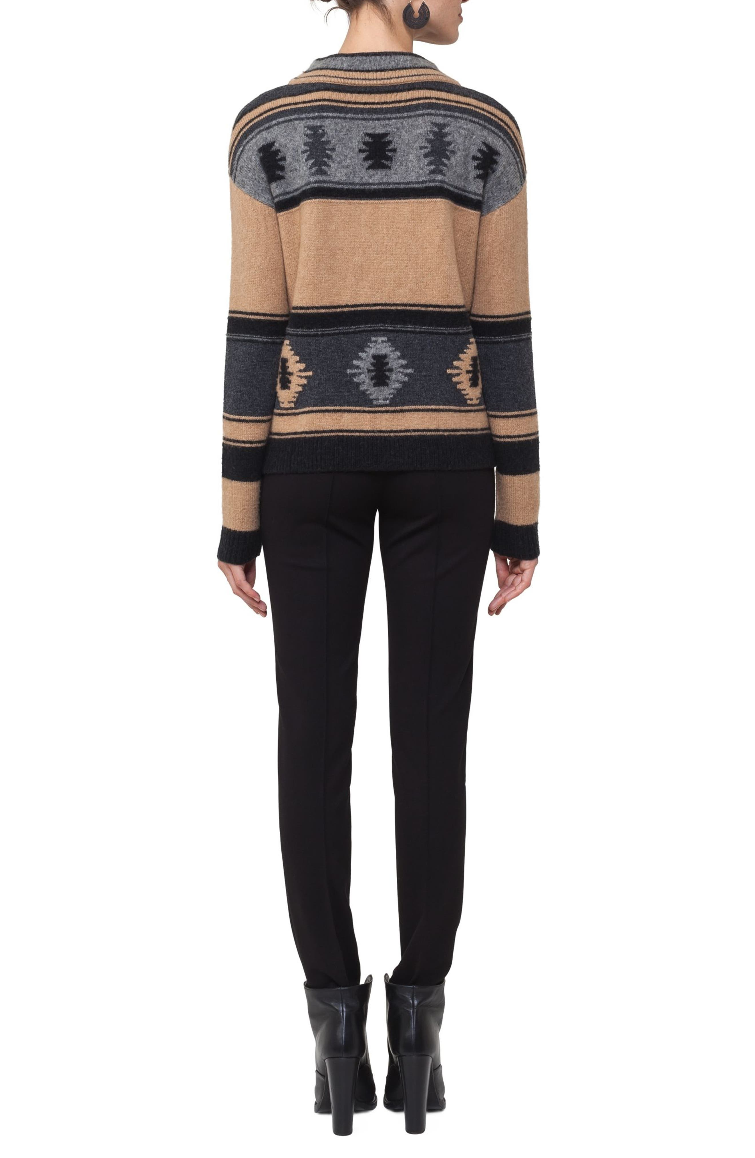 Wool Blend Pullover,                             Alternate thumbnail 2, color,                             Vicunia/ Stone/ Black