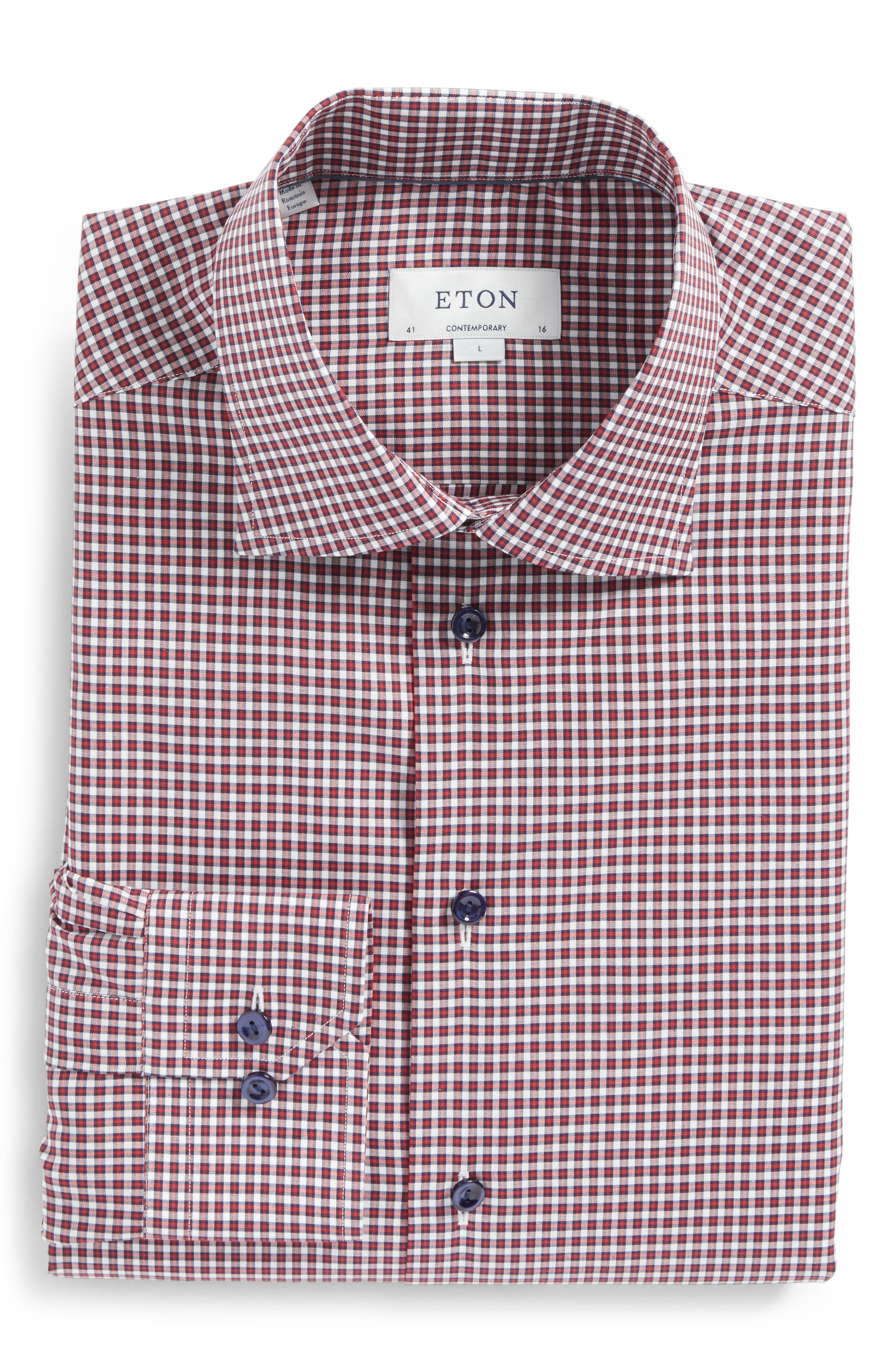Contemporary Fit Check Dress Shirt,                         Main,                         color, Pink/ Red