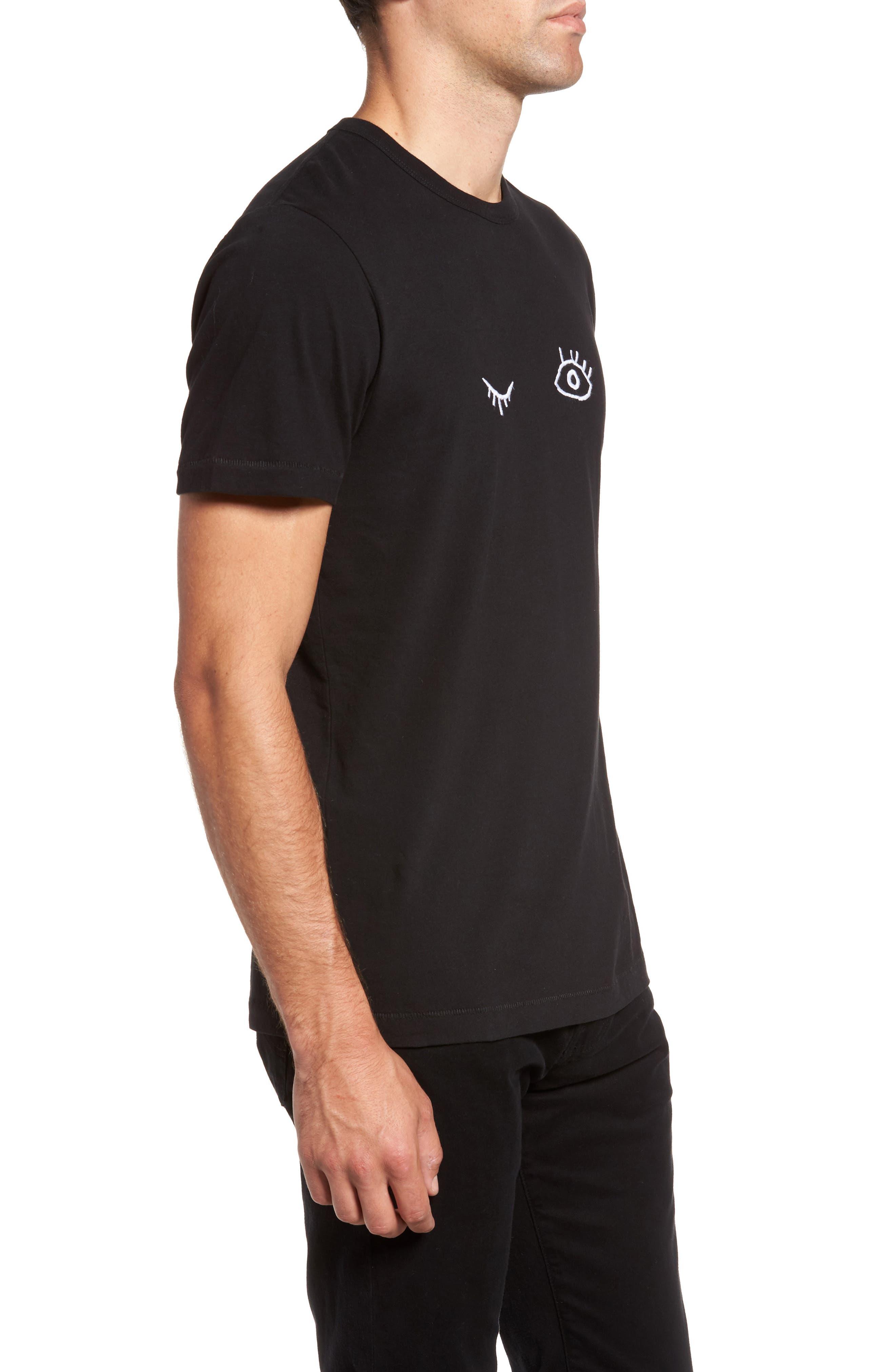 Wink Regular Fit T-Shirt,                             Alternate thumbnail 3, color,                             Black/ White