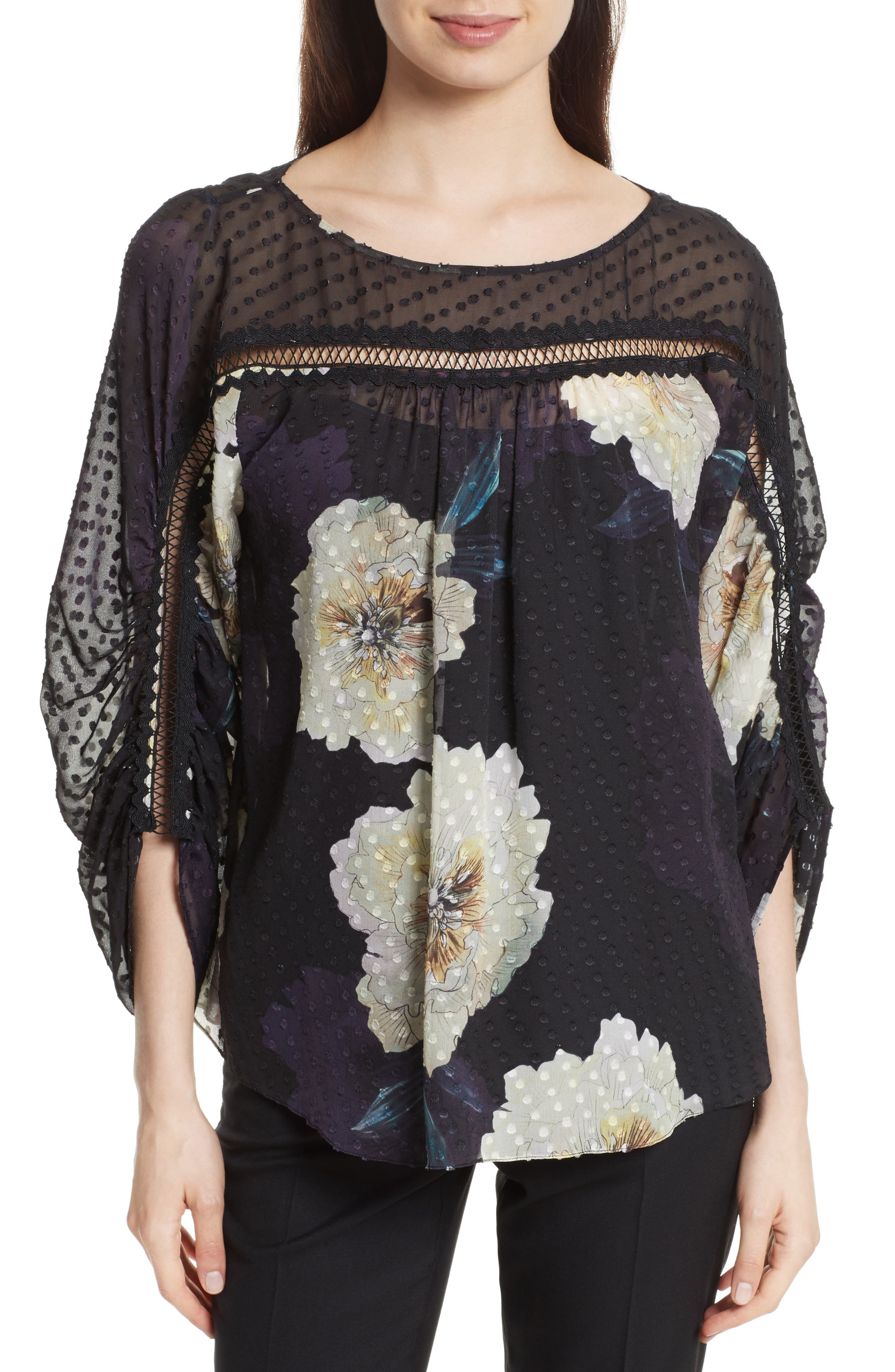 Silk Blossom Blouse,                         Main,                         color, Large Blossom