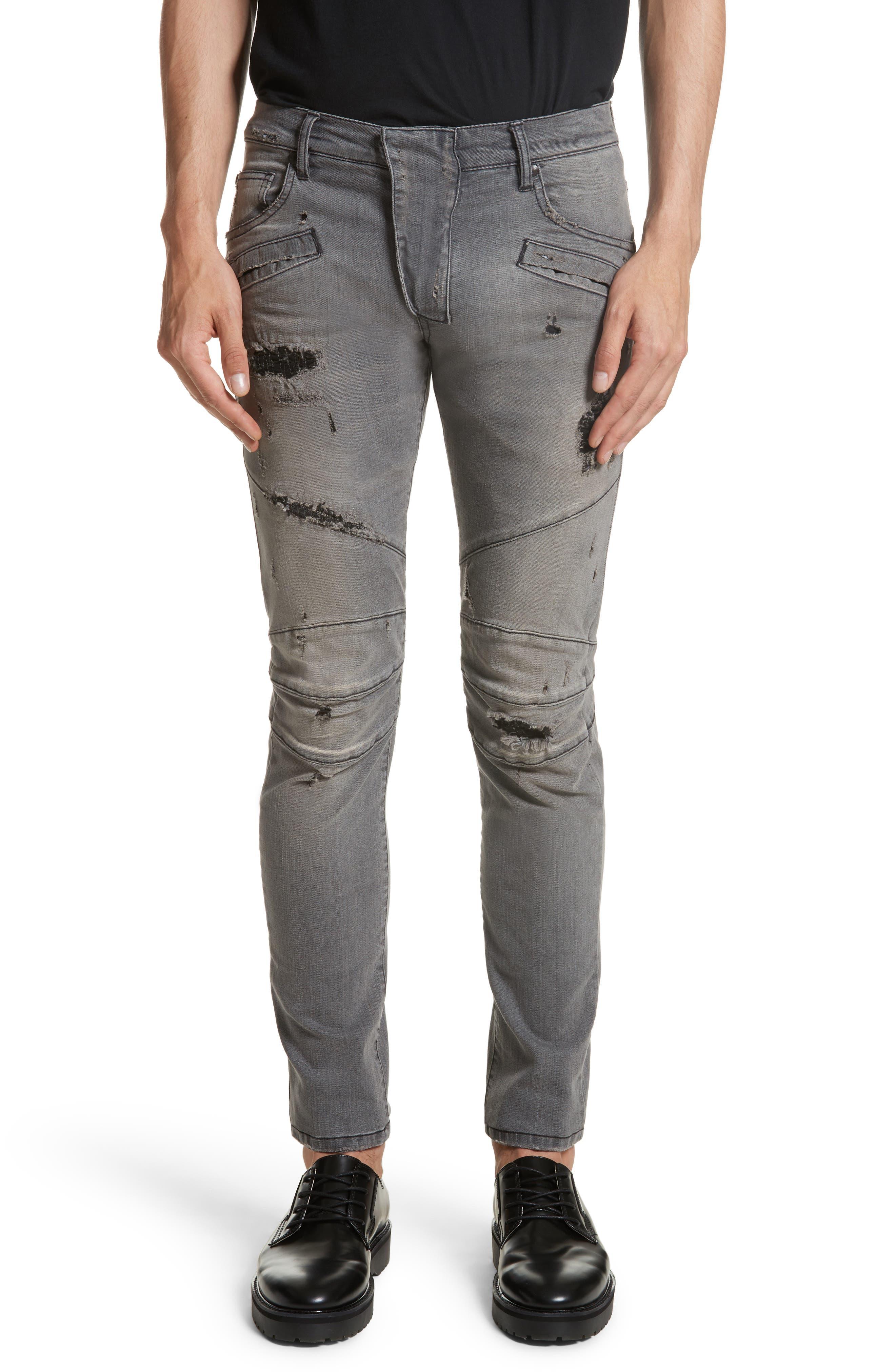 Distressed Moto Jeans,                         Main,                         color, Black Denim