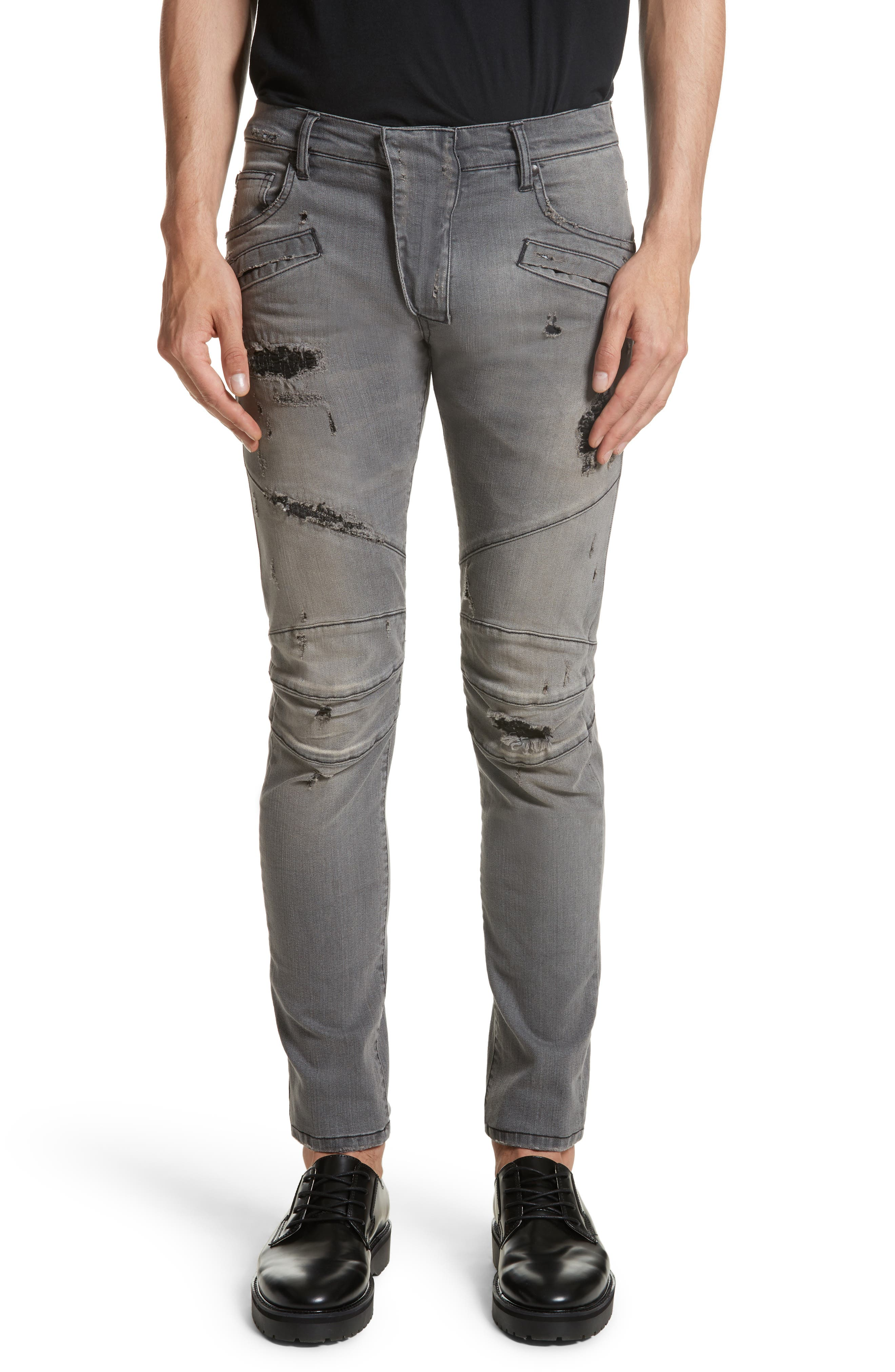 Pierre Balmain Distressed Moto Jeans
