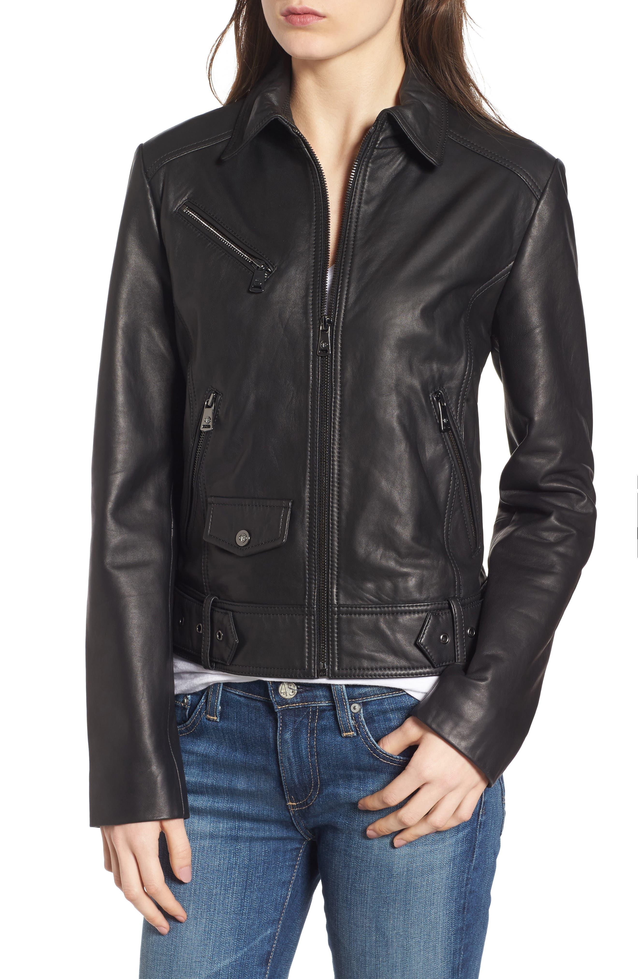 Front Zip Leather Moto Jacket,                             Alternate thumbnail 5, color,                             Black