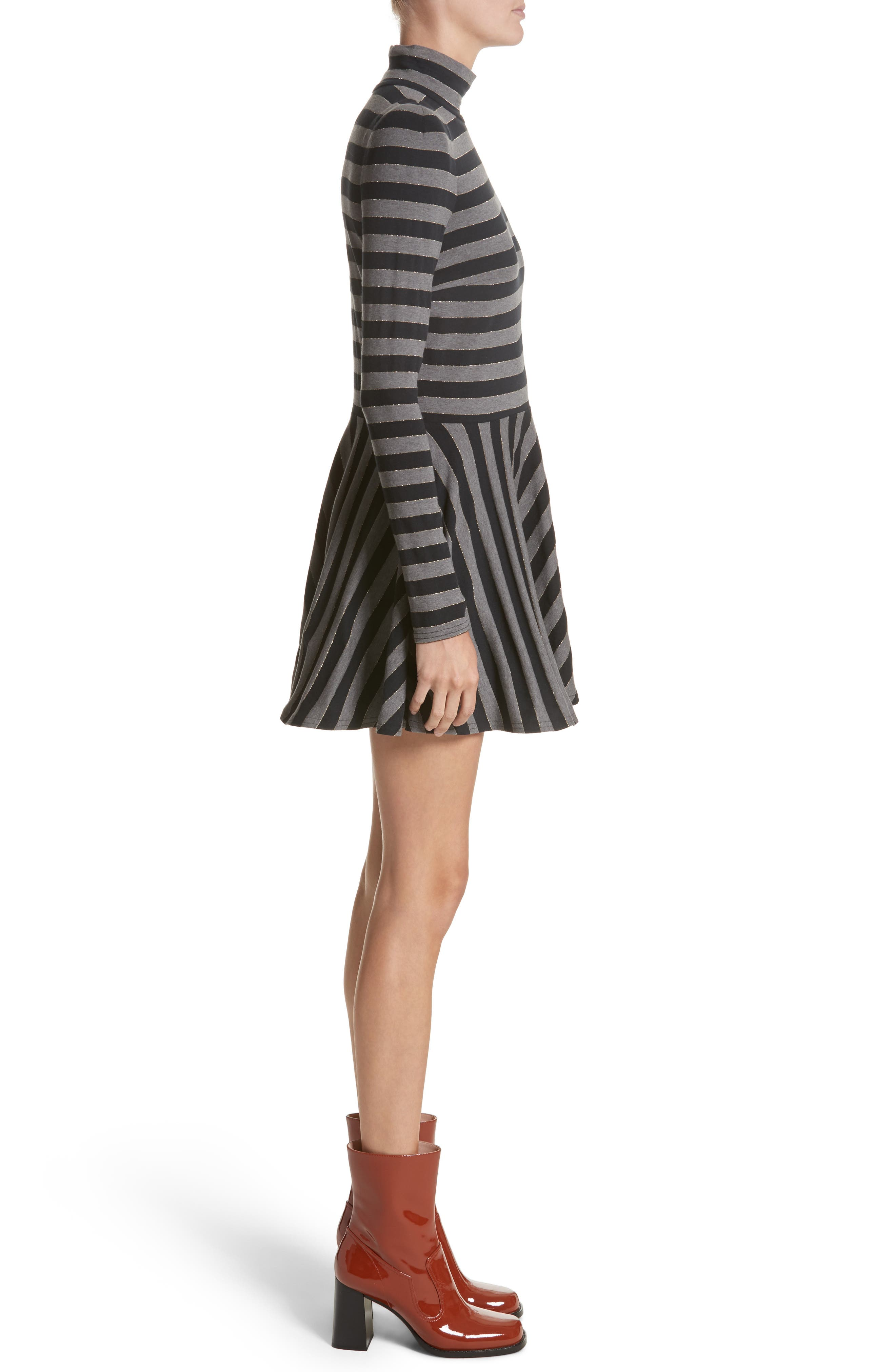 Stripe Jersey Fit & Flare Dress,                             Alternate thumbnail 3, color,                             Grey Multi
