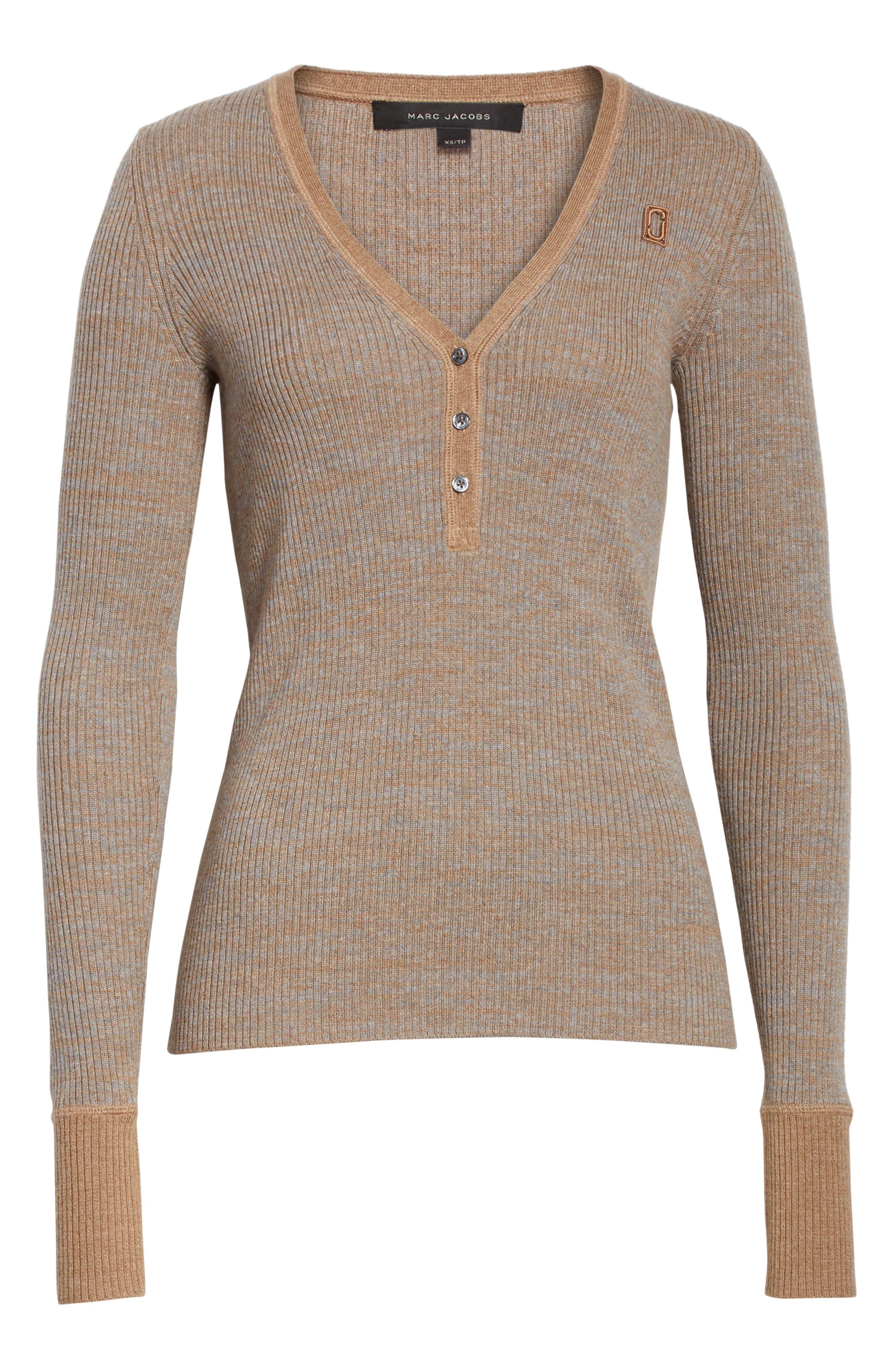 Alternate Image 6  - MARC JACOBS Ribbed V-Neck Wool Sweater