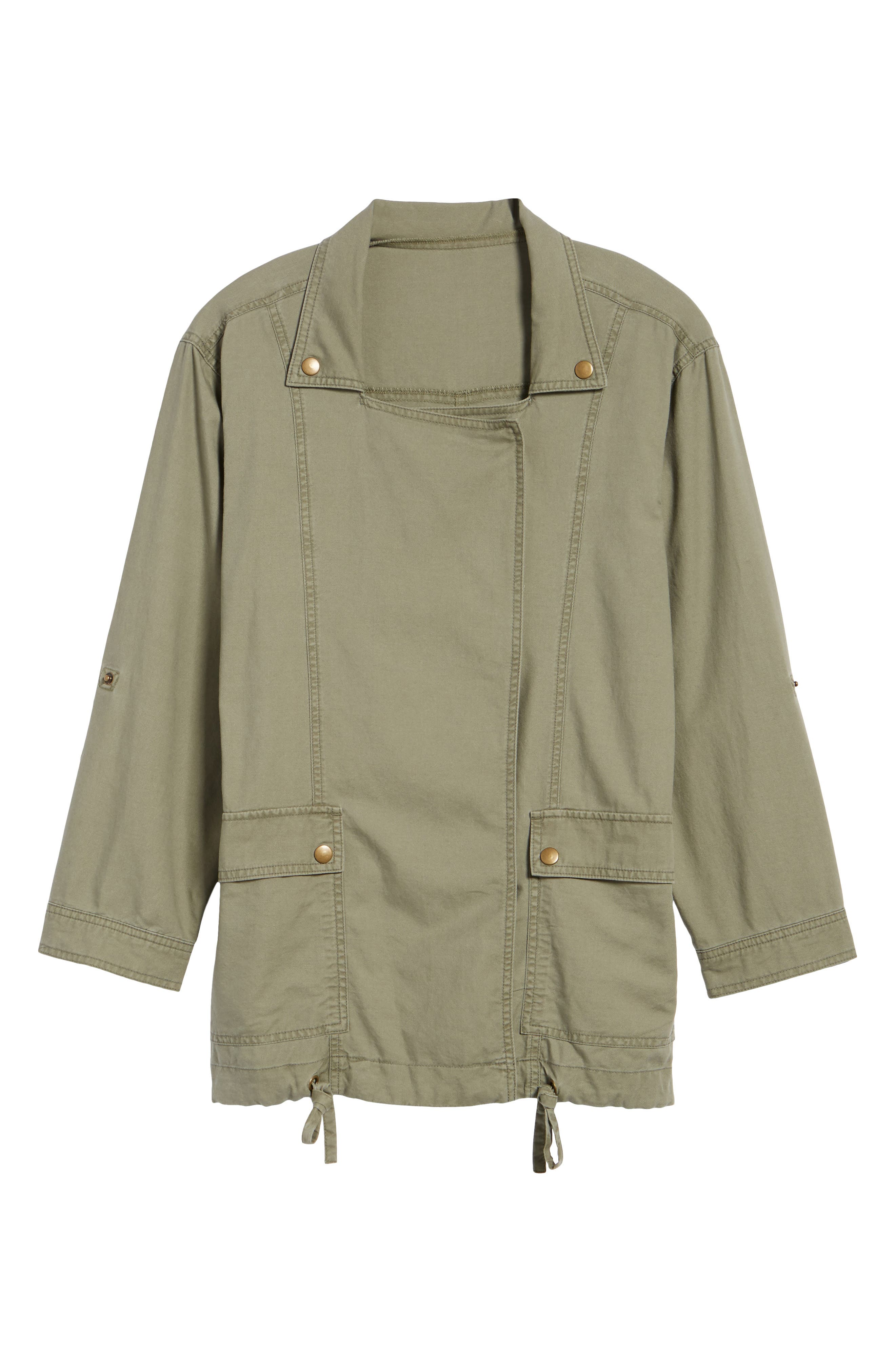 Roll Sleeve Utility Jacket,                         Main,                         color, Olive