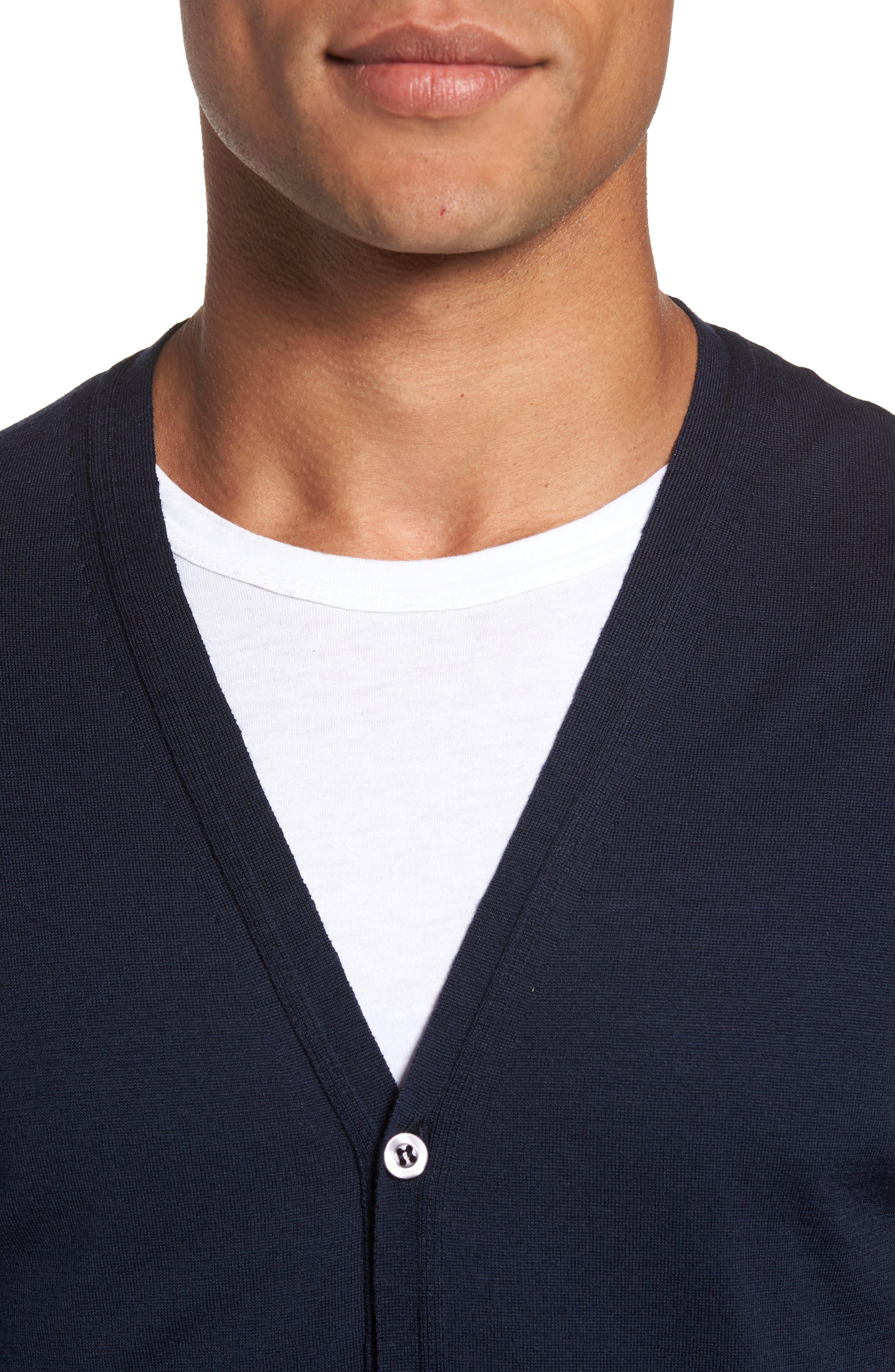 Standard Fit Wool Cardigan,                             Alternate thumbnail 4, color,                             Midnight