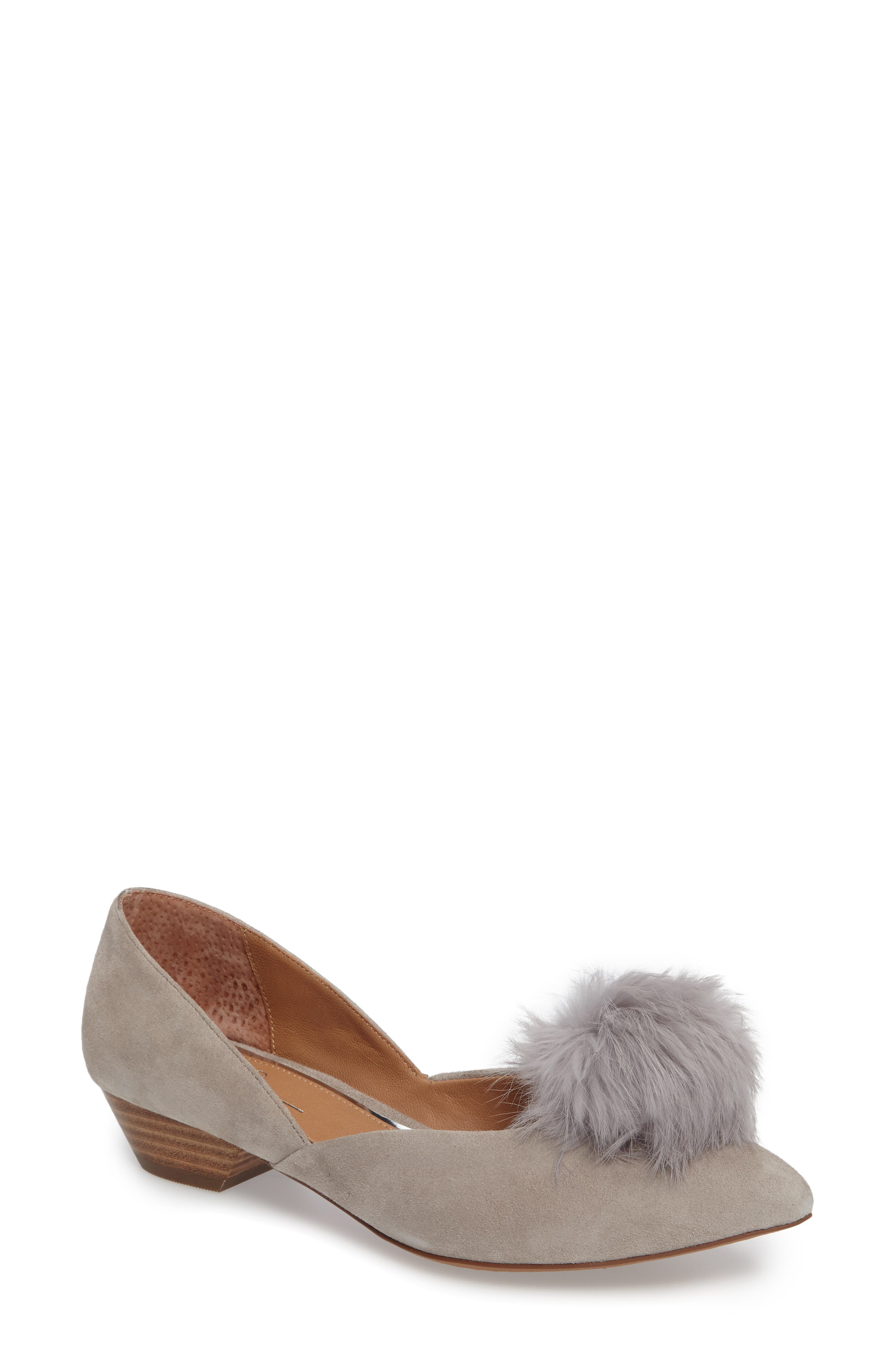 Main Image - Linea Paolo Camille Pump with Genuine Rabbit Fur Pom (Women)