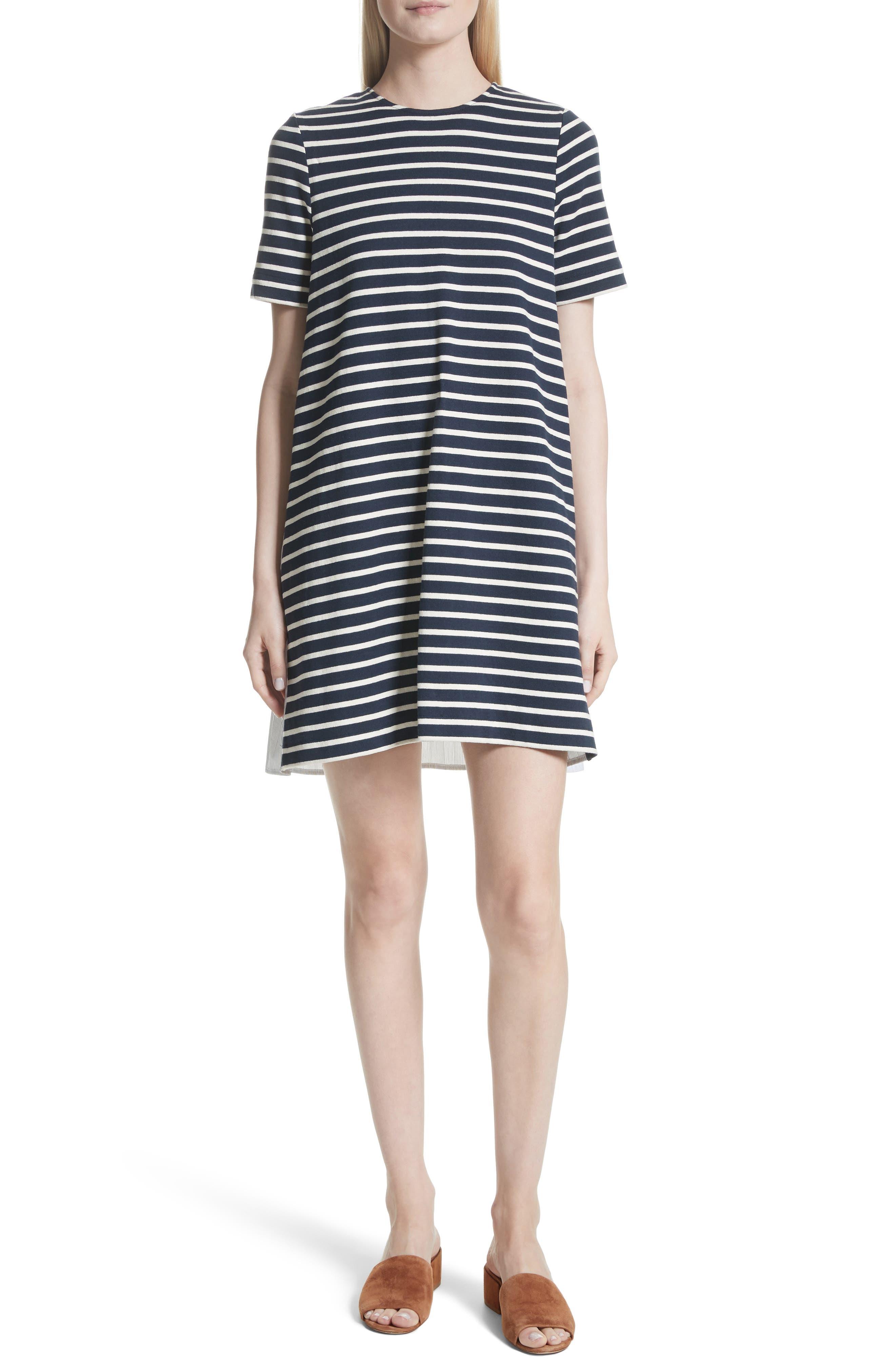 Latch Back Tunic Dress,                             Main thumbnail 1, color,                             Navy/ Cream Multi