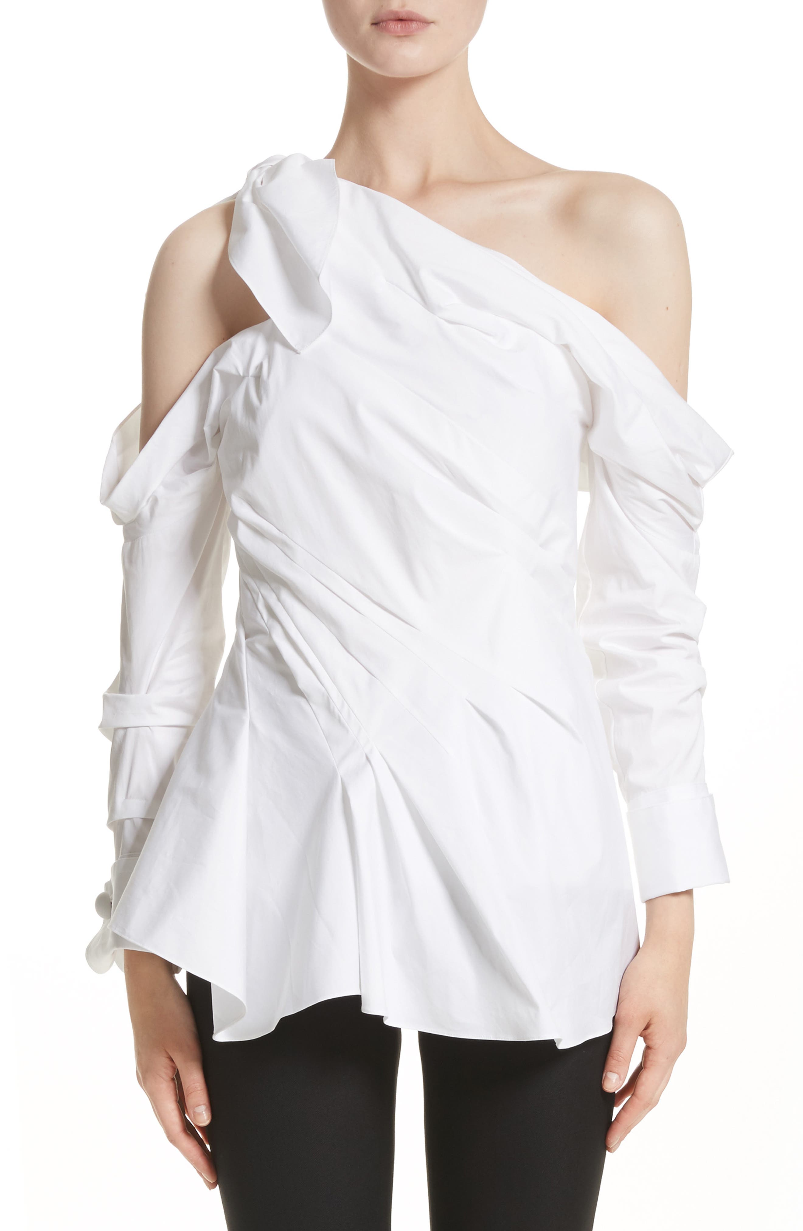 Gathered One-Shoulder Poplin Top,                         Main,                         color, White
