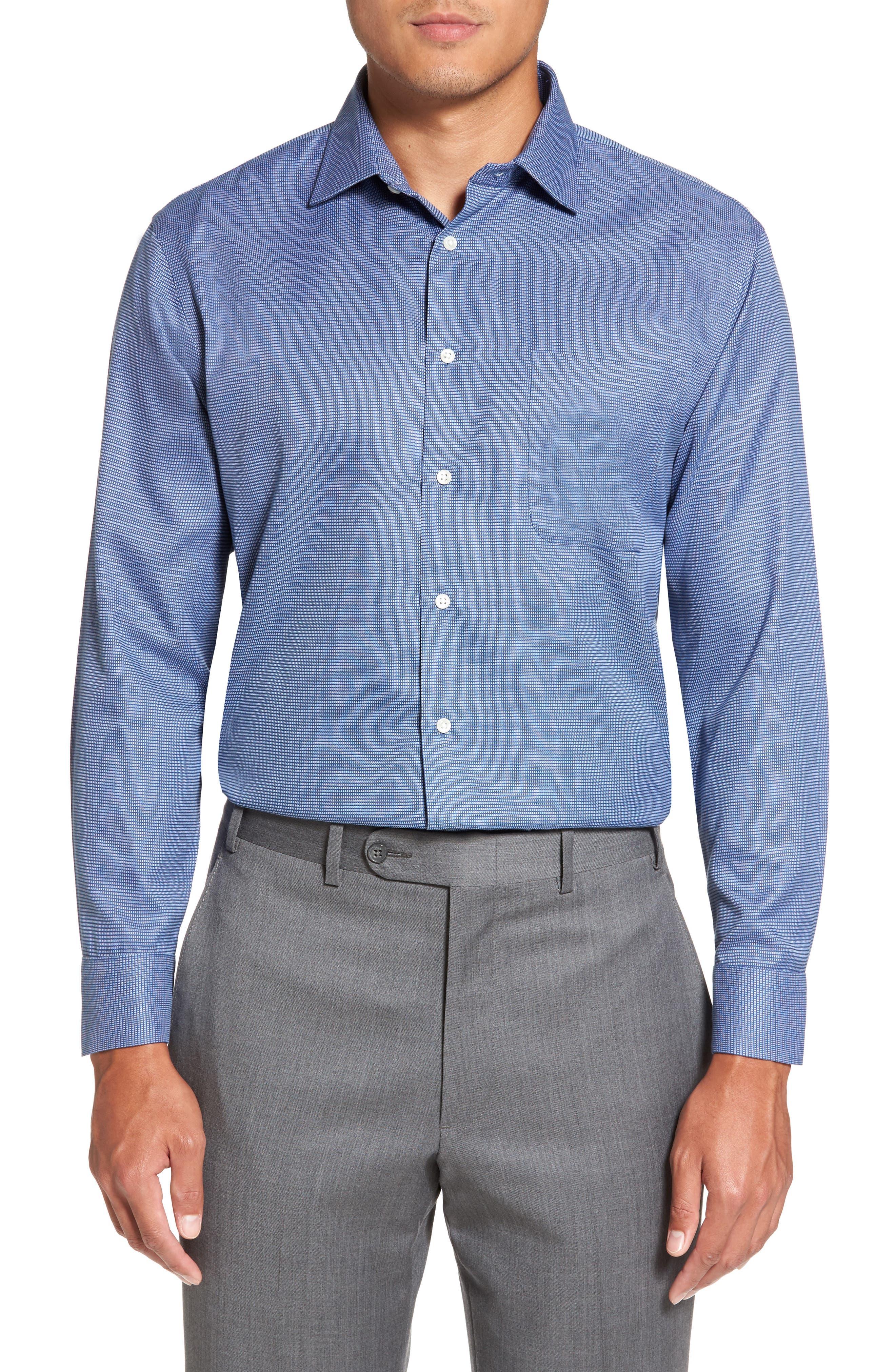 Smartcare<sup>™</sup> Trim Fit Check Dress Shirt,                             Alternate thumbnail 2, color,                             Blue Canal